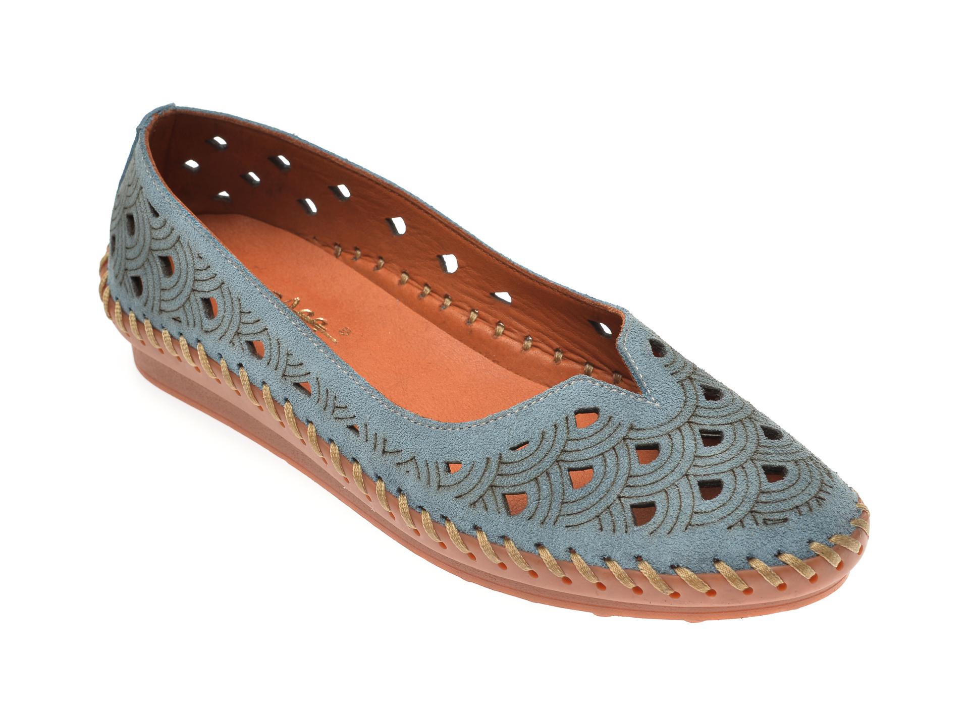 Pantofi PASS COLLECTION albastri, 02710, din piele intoarsa