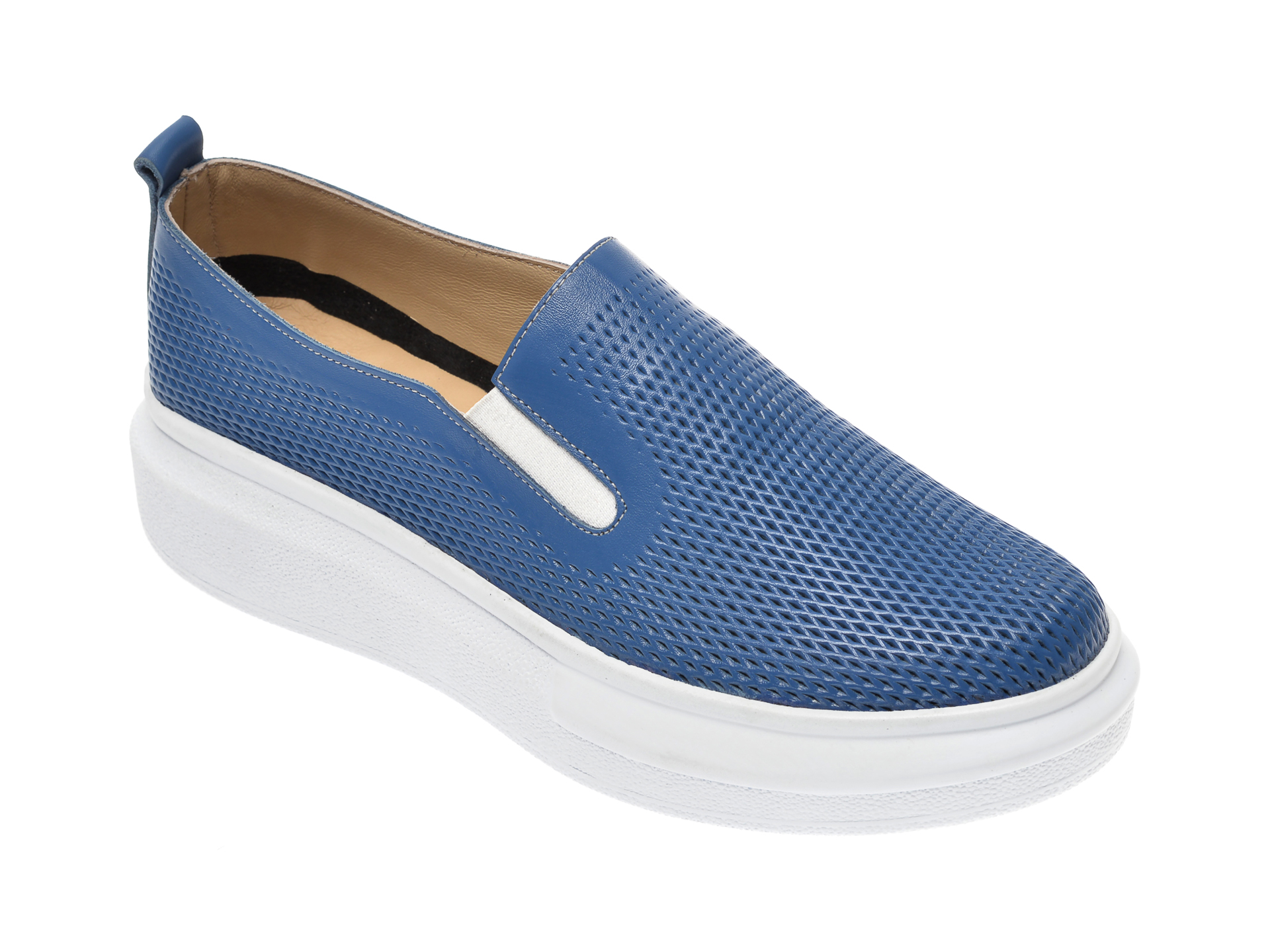 Pantofi PASS COLLECTION albastri, K92102, din piele naturala imagine