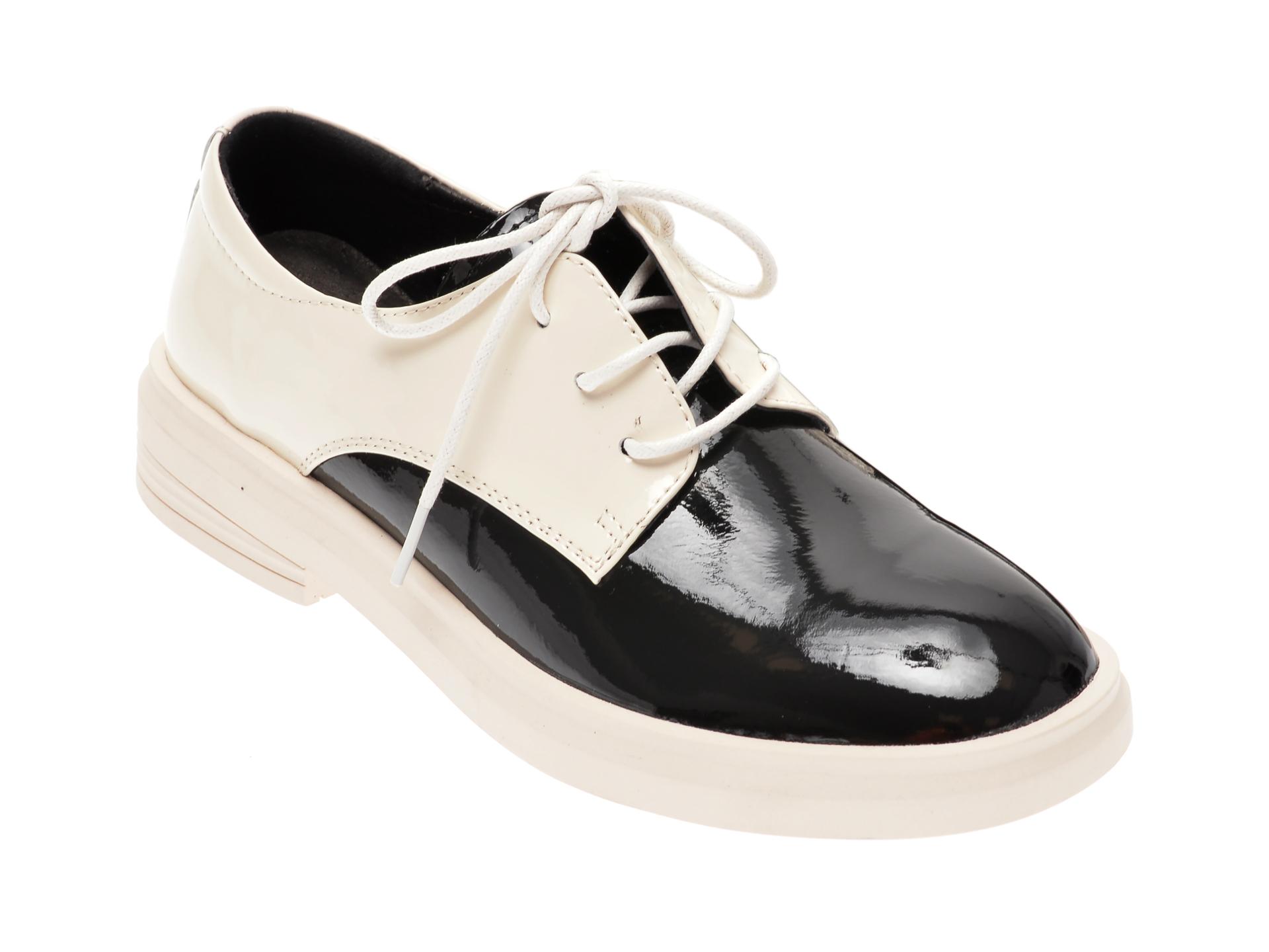 Pantofi PASS COLLECTION albi, 19118, din piele naturala lacuita
