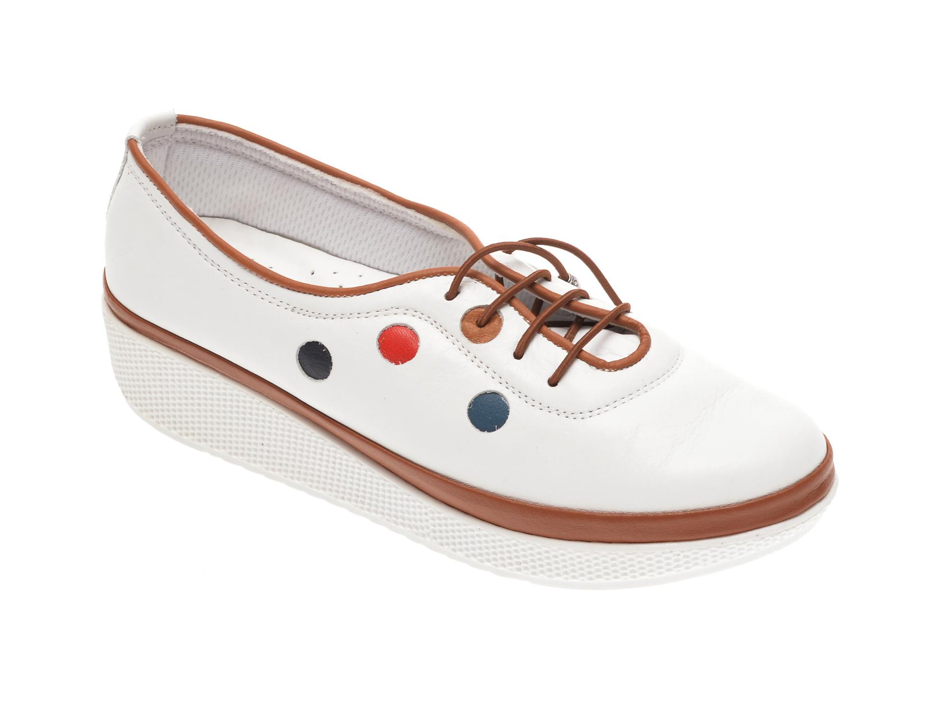 Pantofi PASS COLLECTION albi, H17, din piele naturala