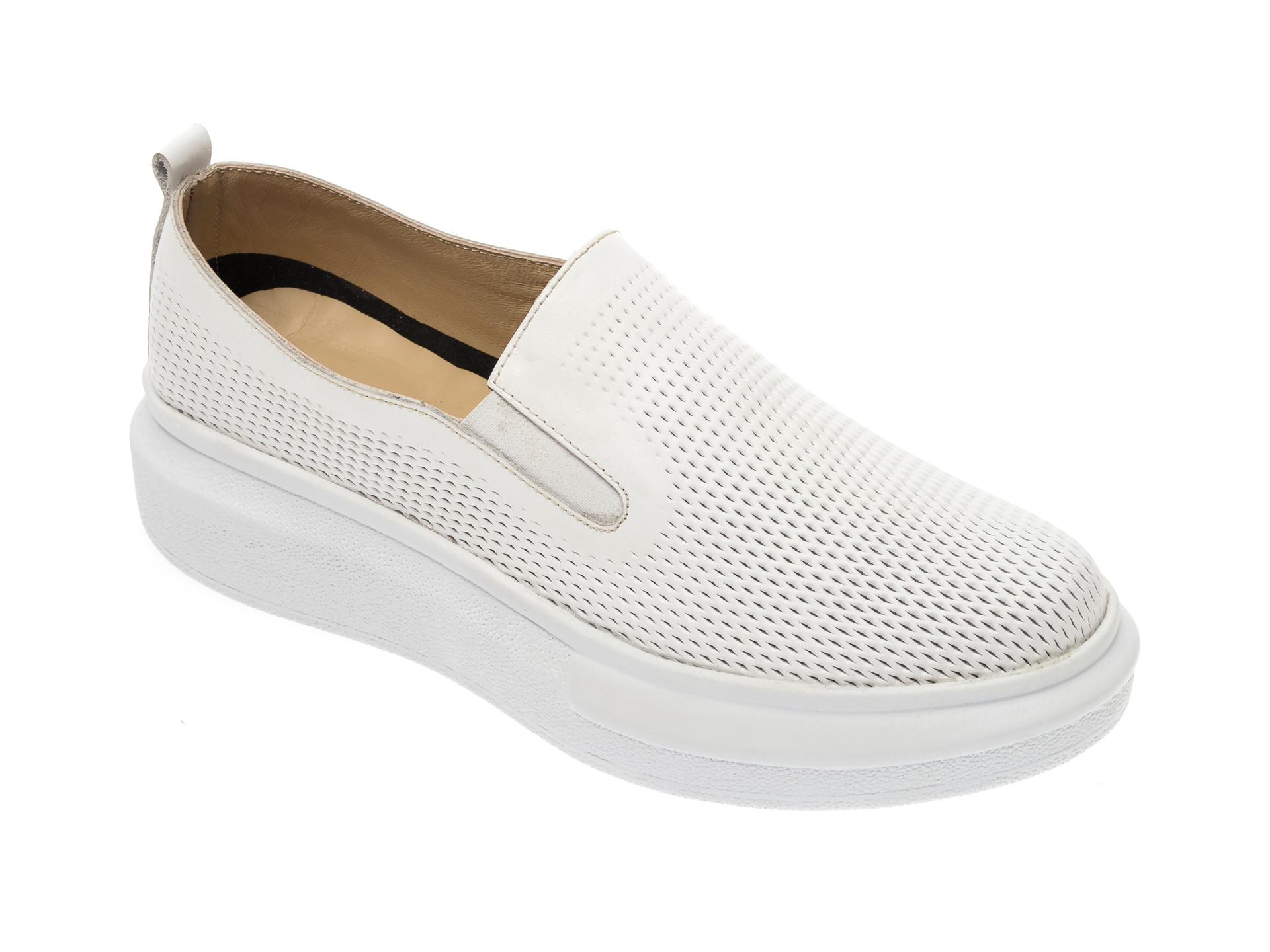 Pantofi PASS COLLECTION albi, K92102, din piele naturala