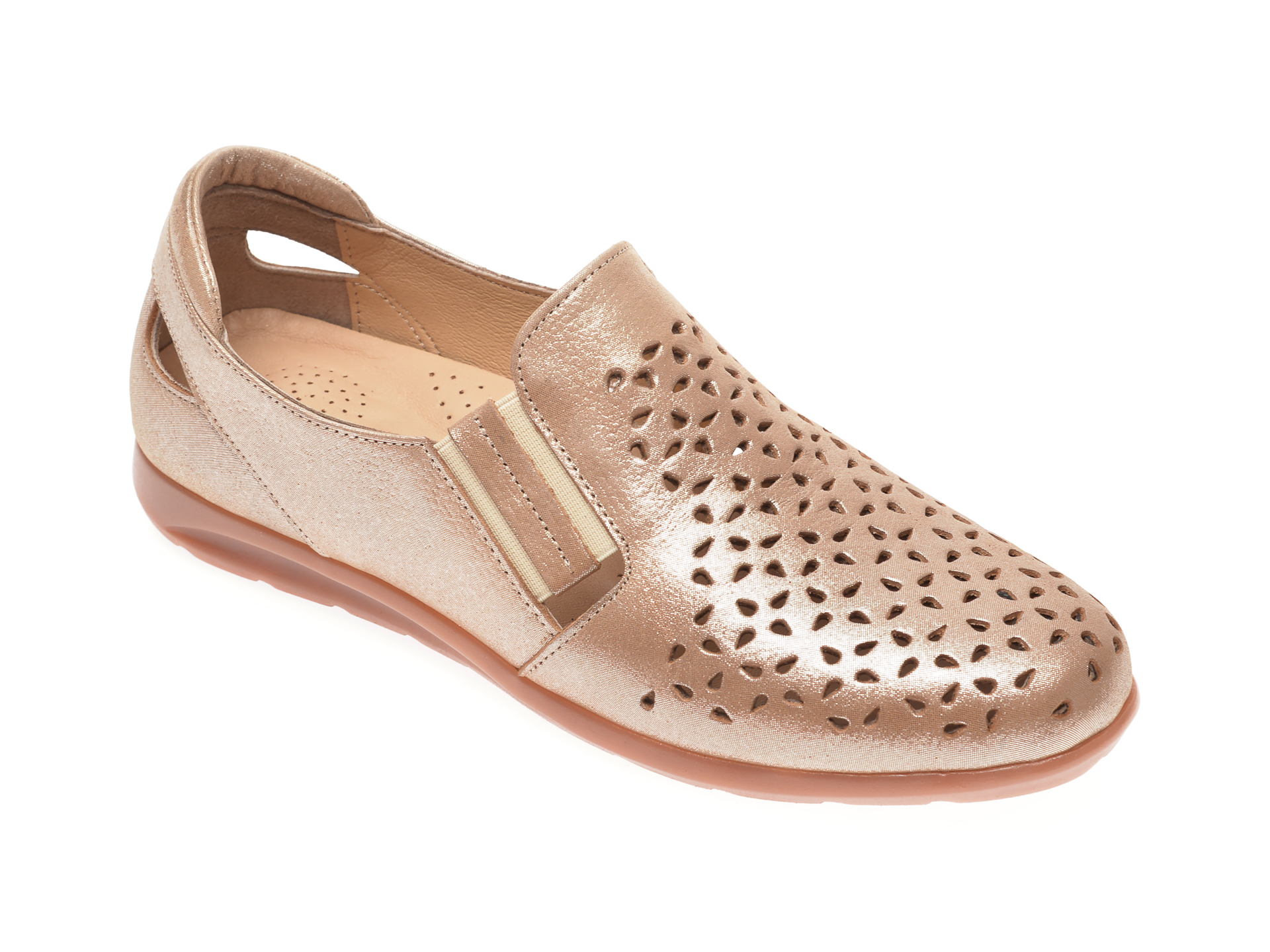Pantofi PASS COLLECTION aurii, 14152, din piele naturala
