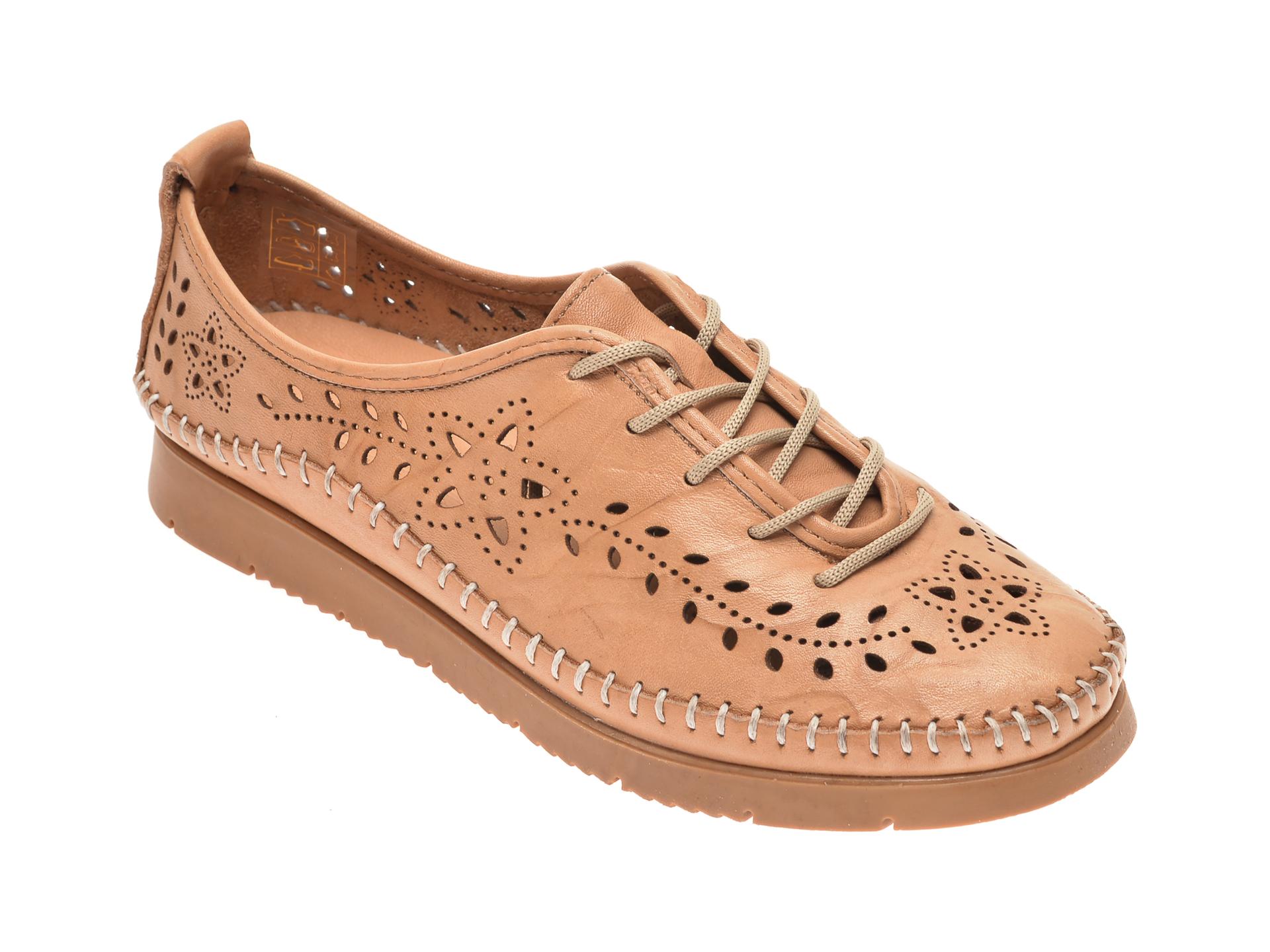Pantofi PASS COLLECTION bej, 1438, din piele naturala