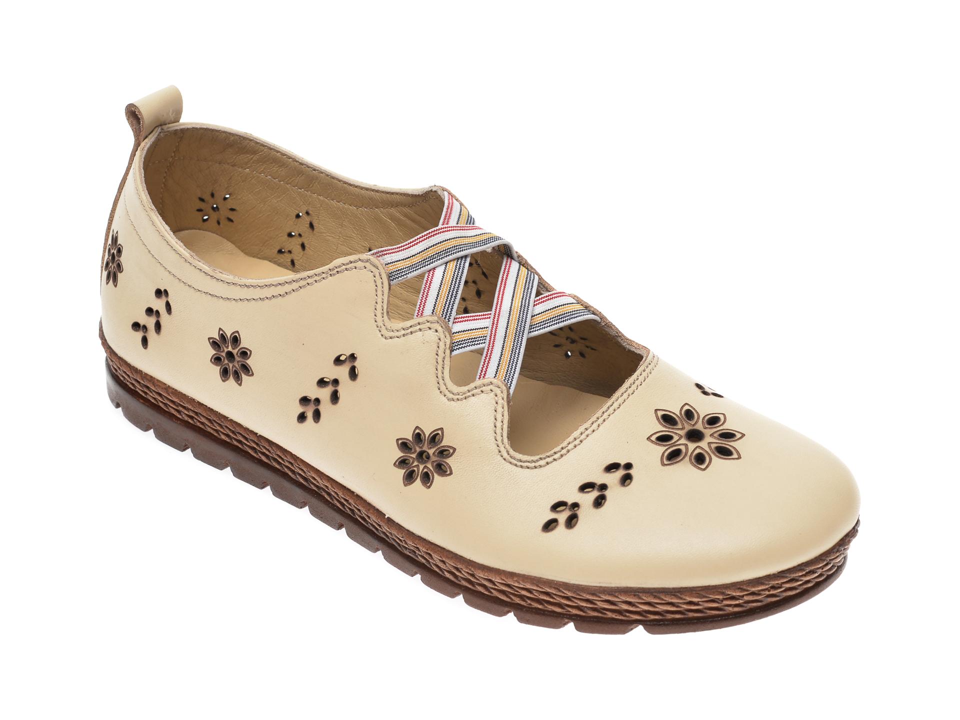 Pantofi PASS COLLECTION bej, K92104, din piele naturala imagine