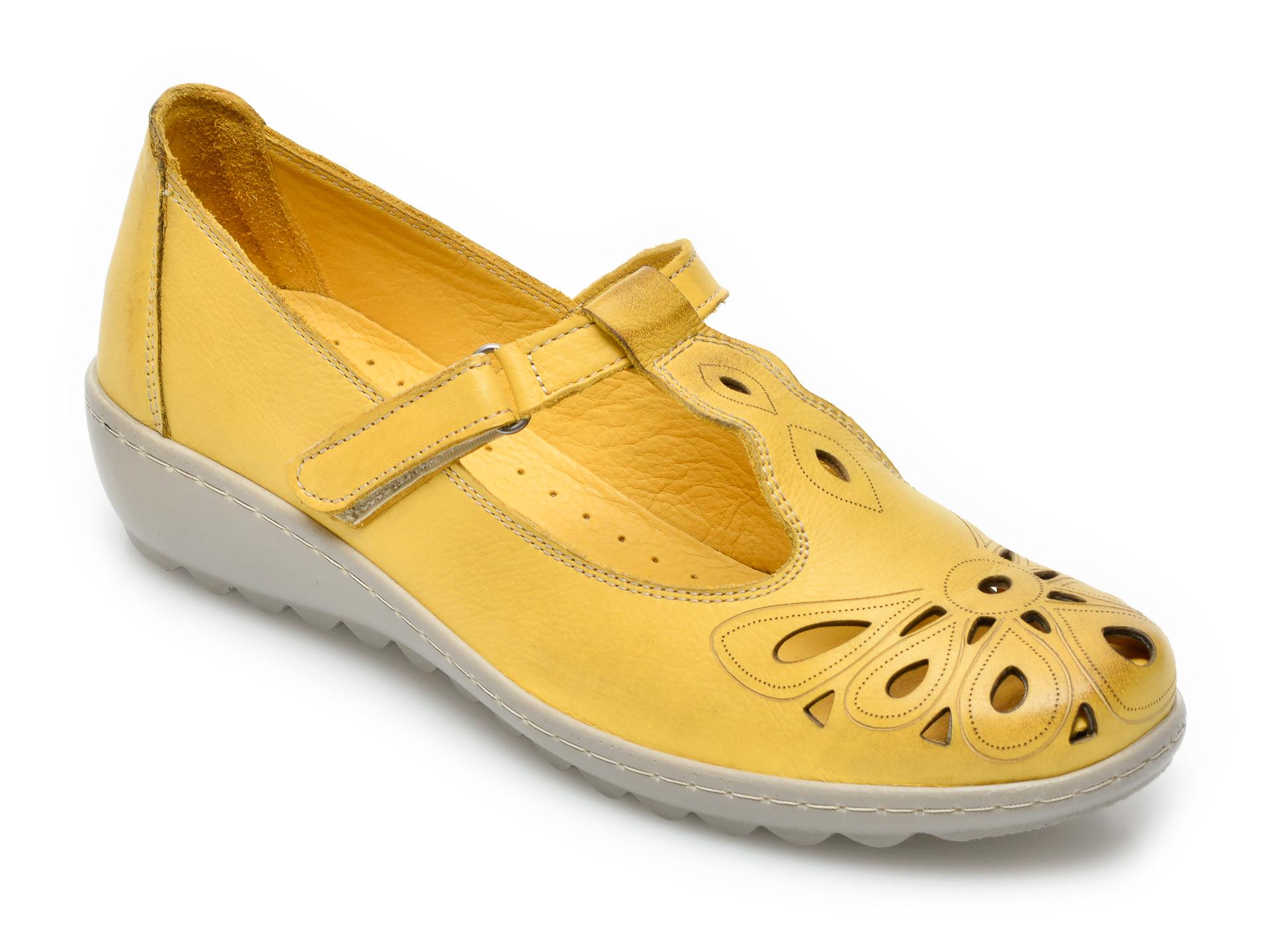 Pantofi PASS COLLECTION galbeni, 27615, din piele naturala imagine otter.ro