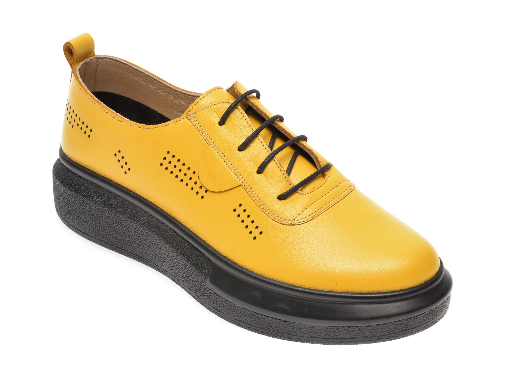 Pantofi PASS COLLECTION galbeni, 92100, din piele naturala