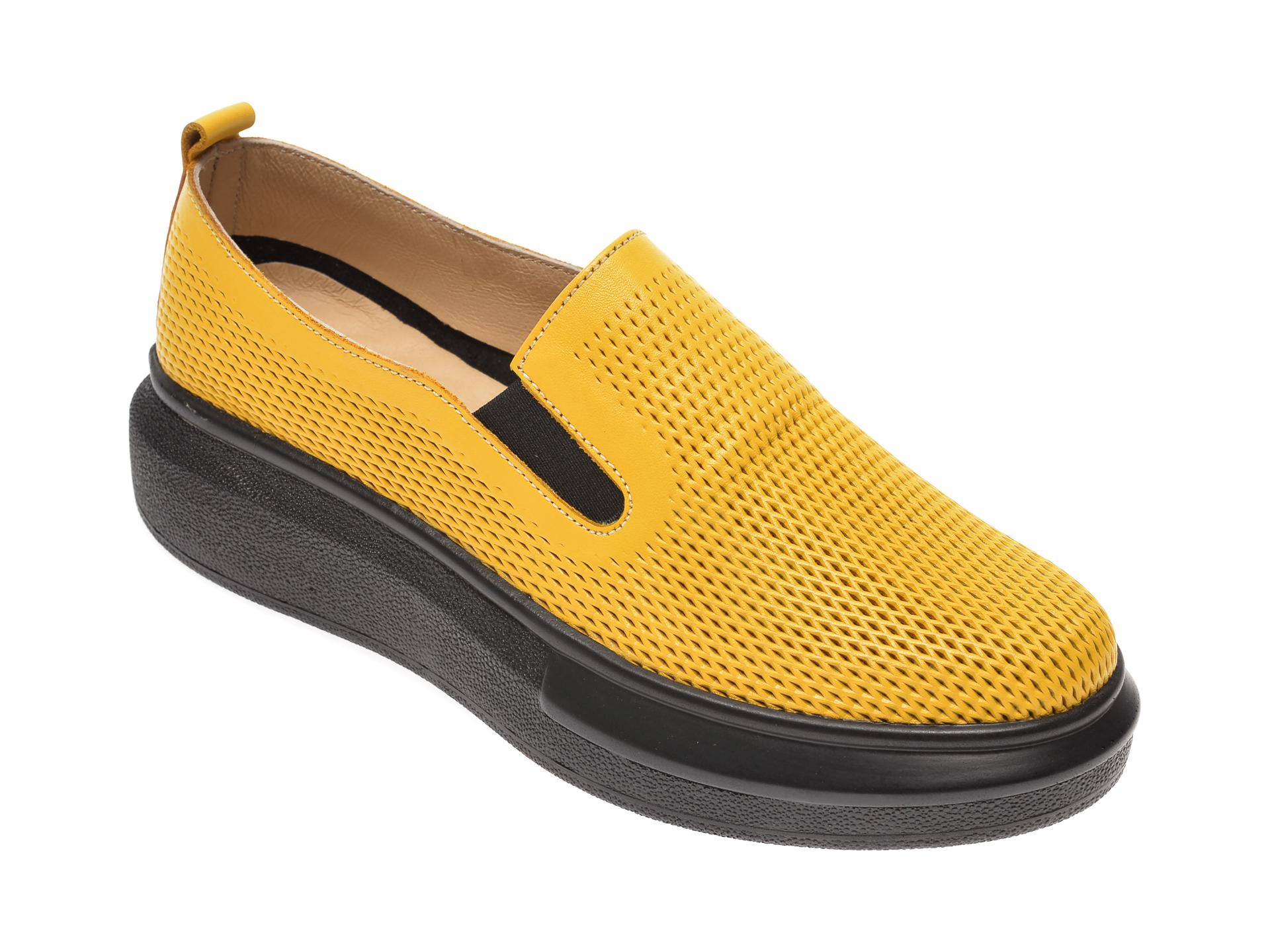 Pantofi PASS COLLECTION galbeni, K92102, din piele naturala