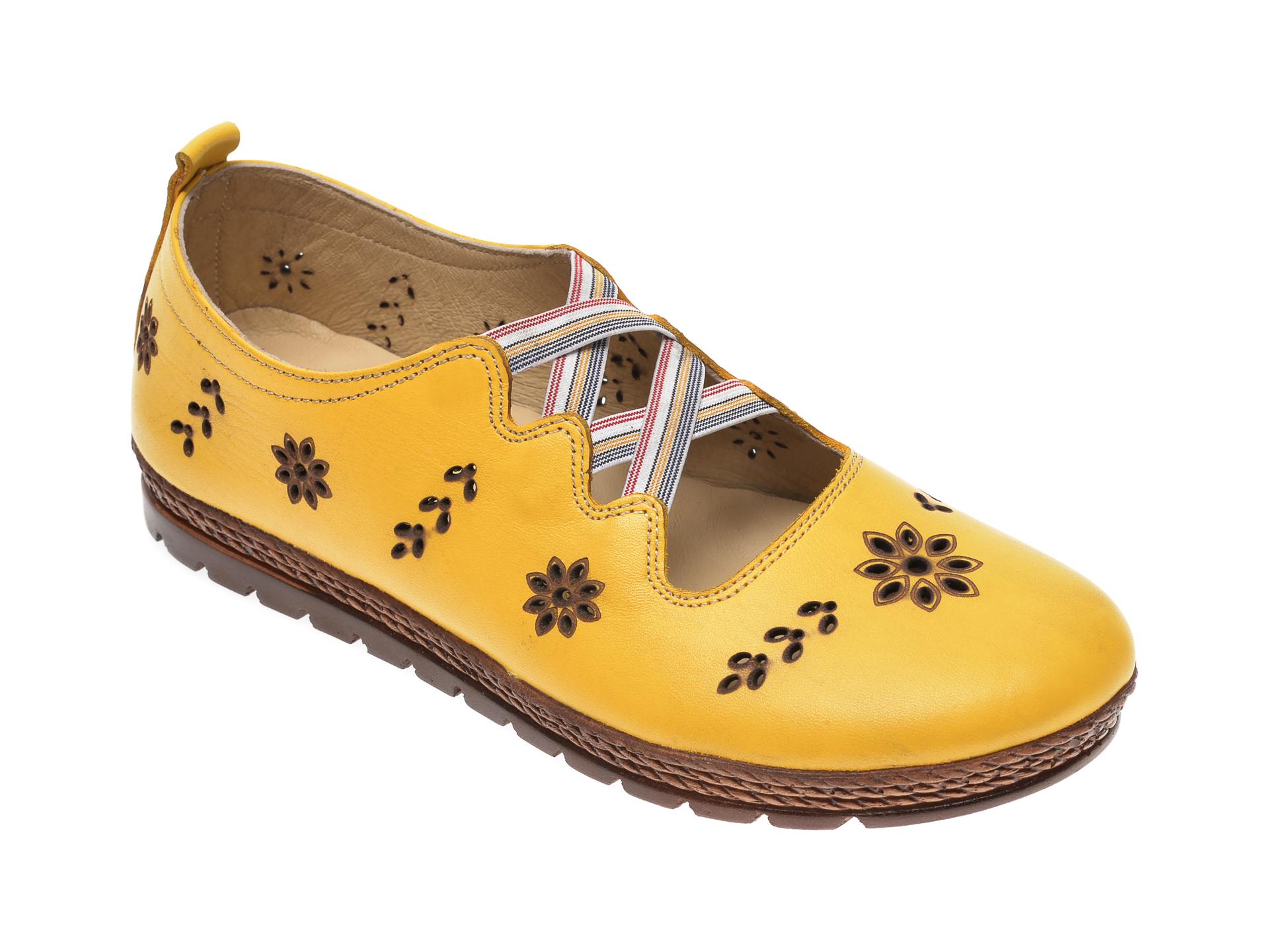 Pantofi PASS COLLECTION galbeni, K92104, din piele naturala