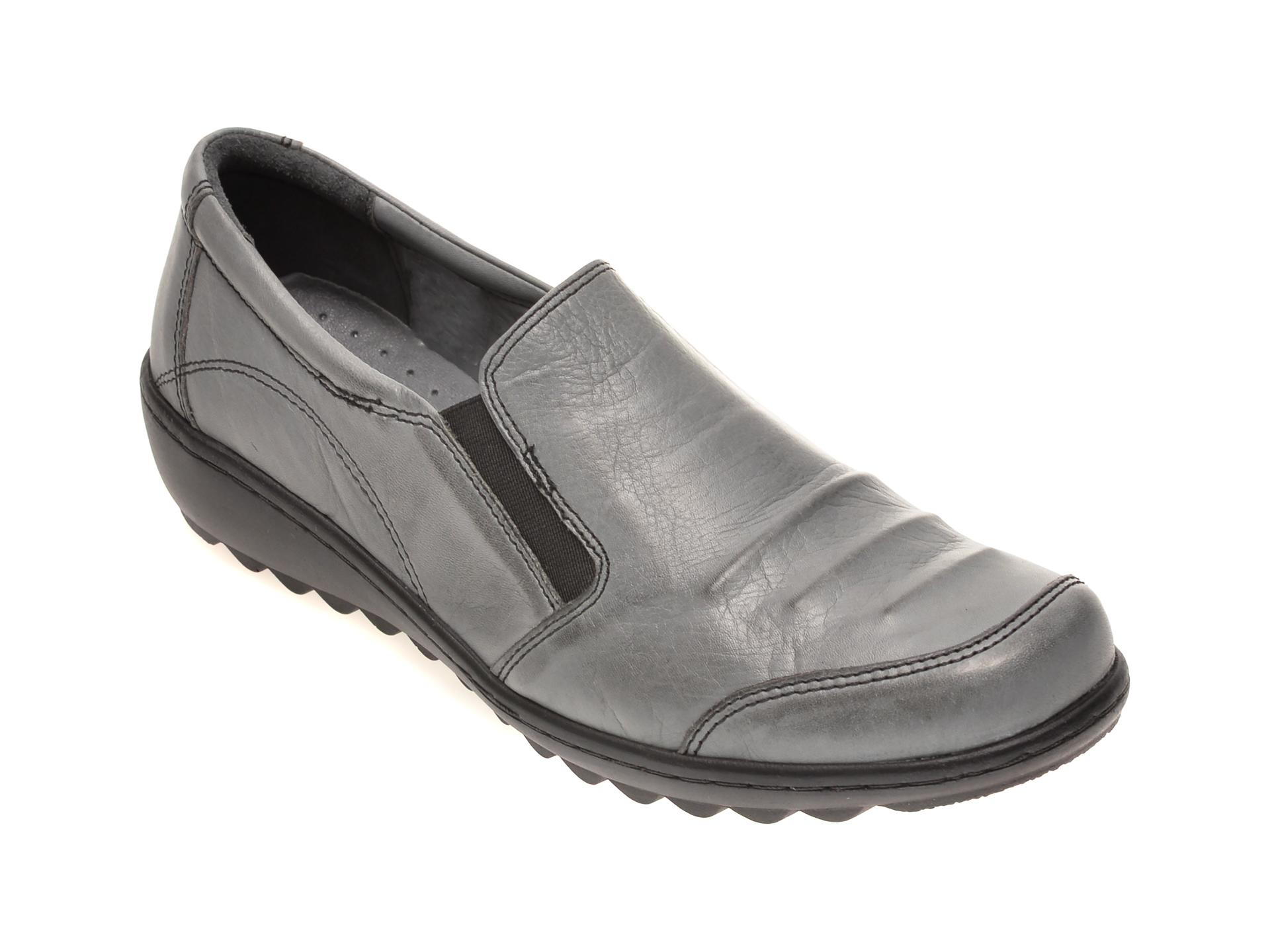 Pantofi PASS COLLECTION gri, 15115, din piele naturala