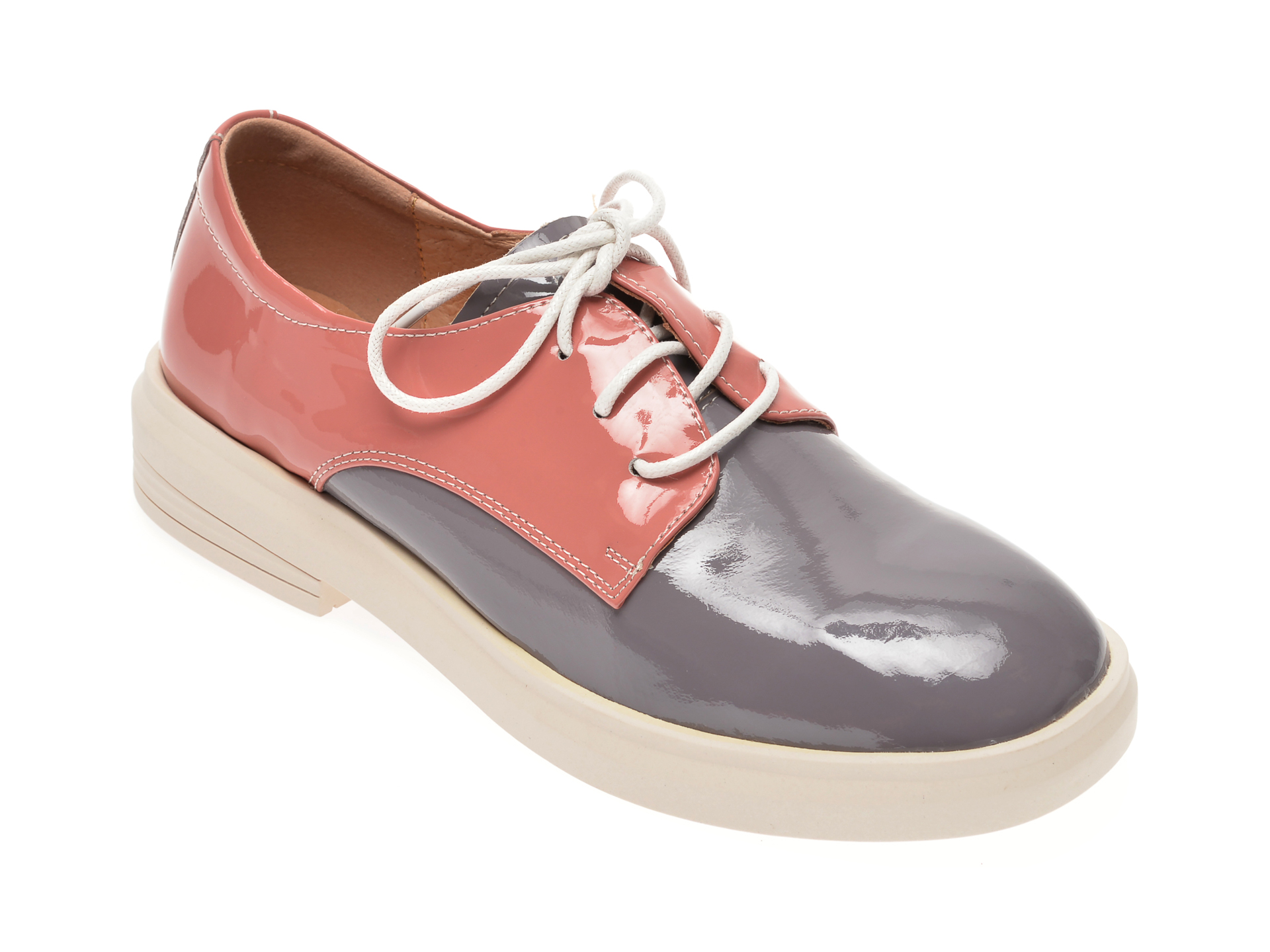 Pantofi PASS COLLECTION gri, 19118, din lac piele