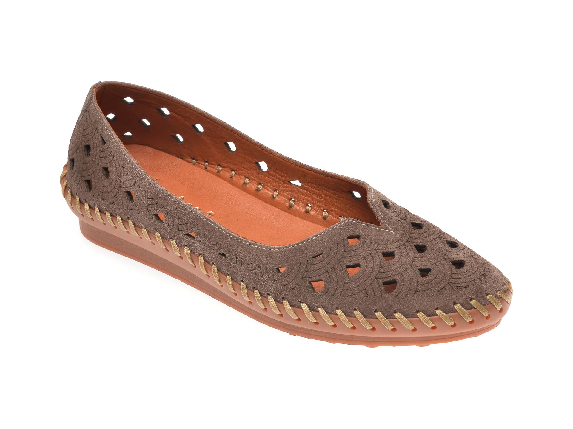 Pantofi PASS COLLECTION maro, 02710, din piele intoarsa