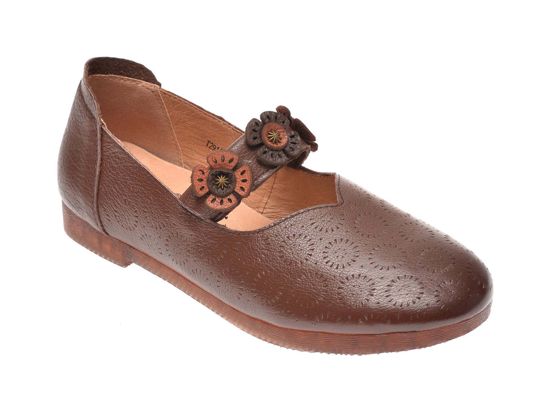 Pantofi PASS COLLECTION maro, T29113, din piele naturala