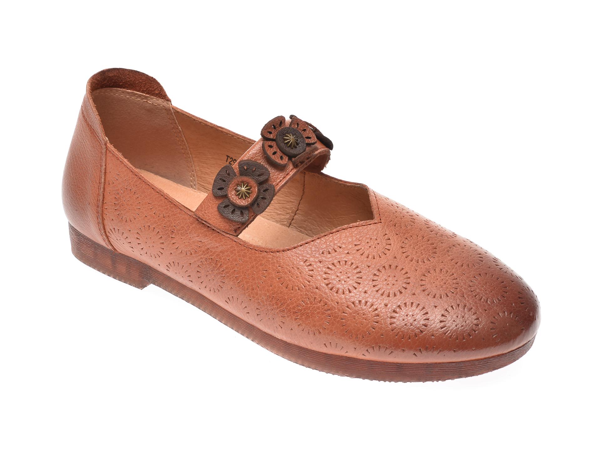 Pantofi PASS COLLECTION maro, T29113, din piele naturala imagine
