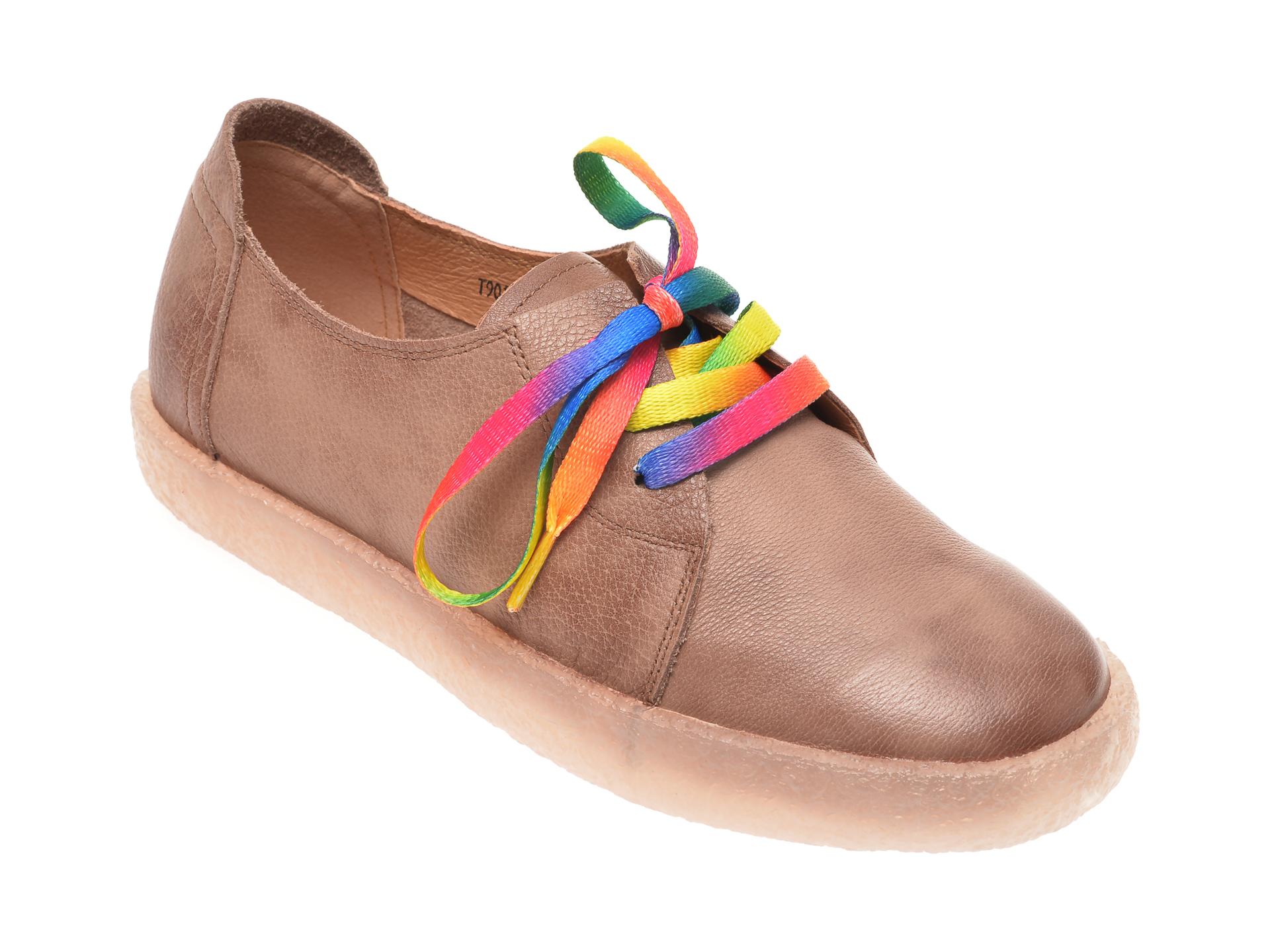 Pantofi PASS COLLECTION nude, T9019, din piele naturala