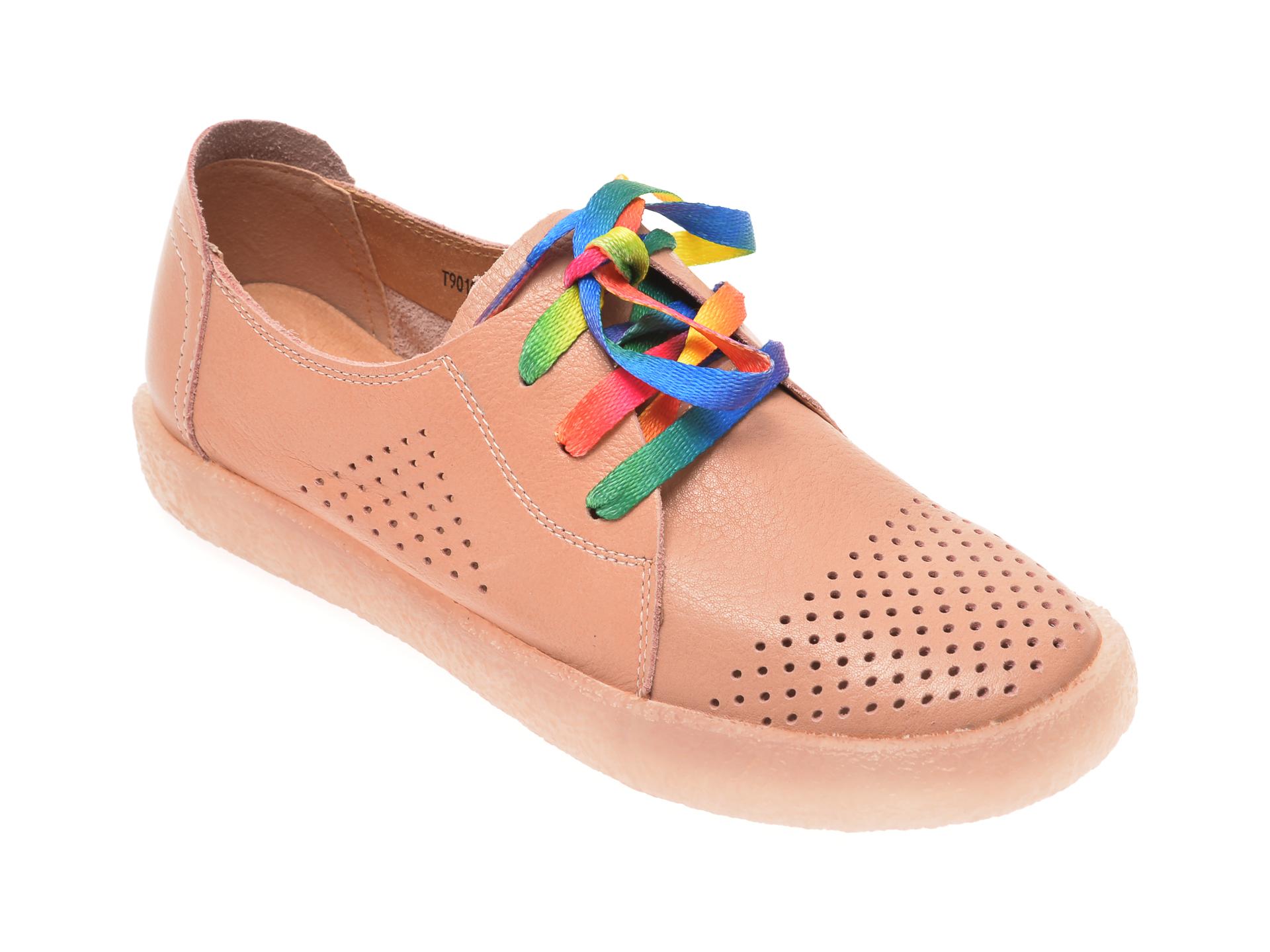 Pantofi PASS COLLECTION nude, T9019, din piele naturala New