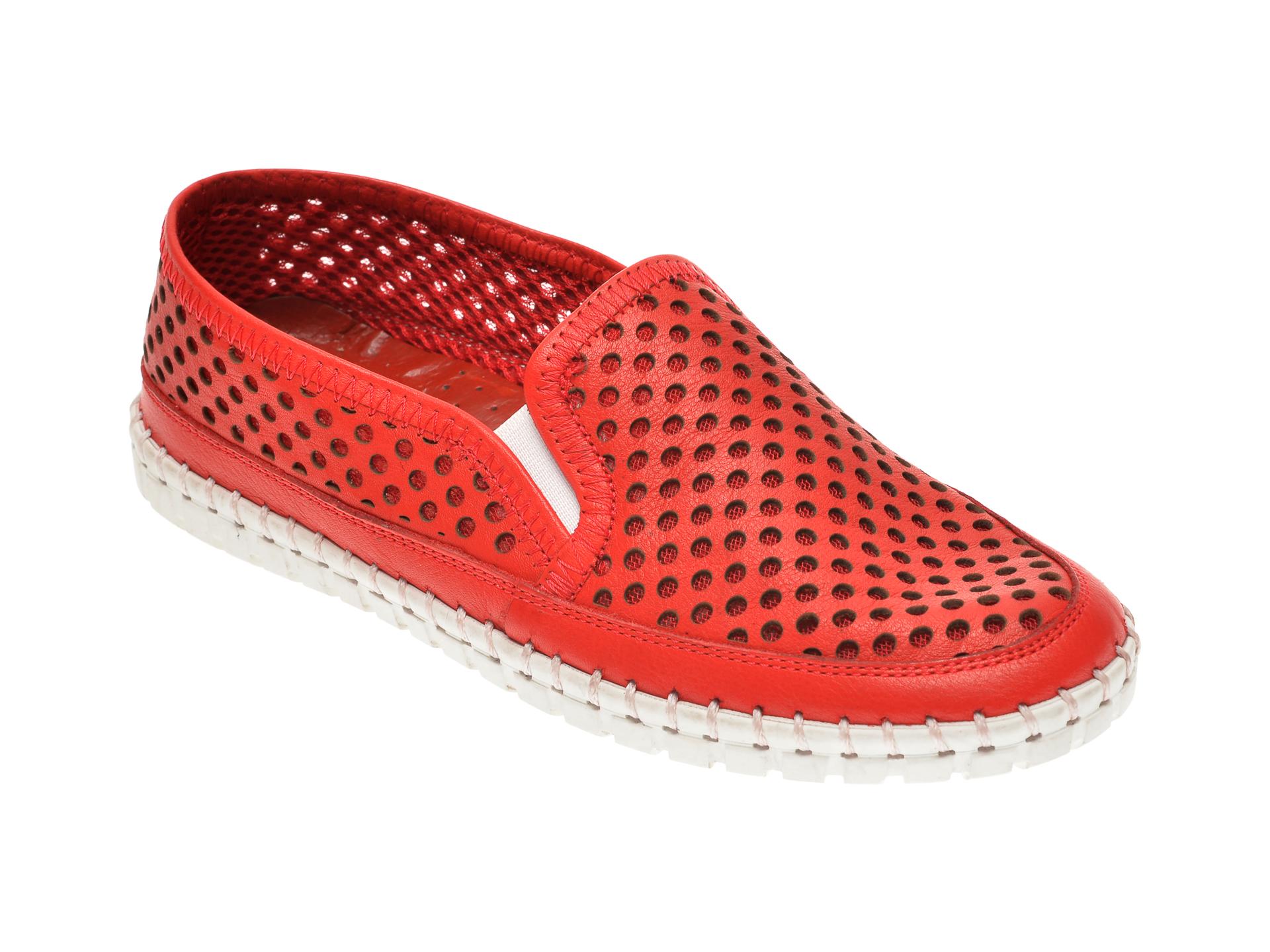 Pantofi PASS COLLECTION rosii, 0580, din piele naturala
