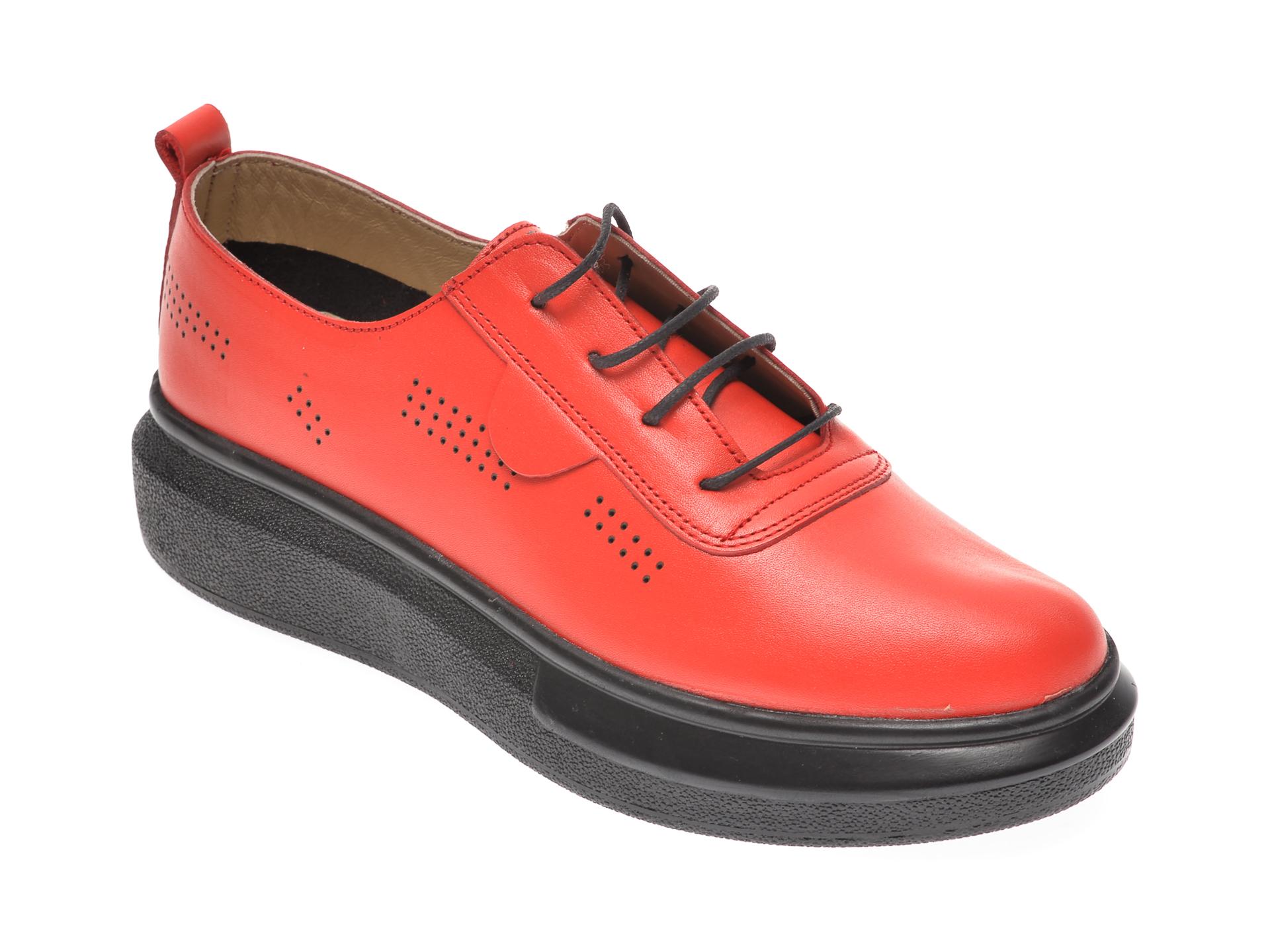 Pantofi PASS COLLECTION rosii, 92100, din piele naturala