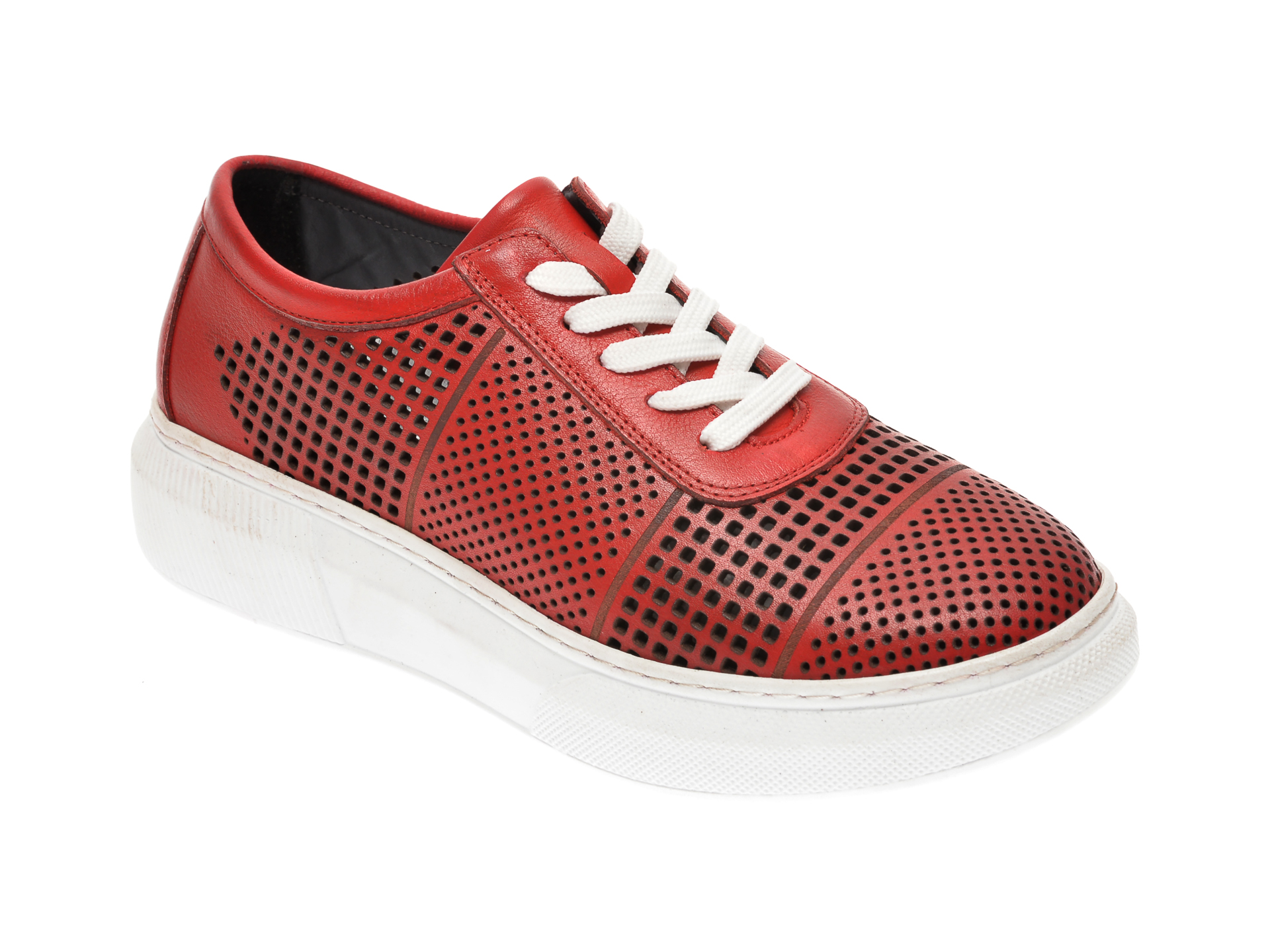 Pantofi PASS COLLECTION rosii, K21, din piele naturala