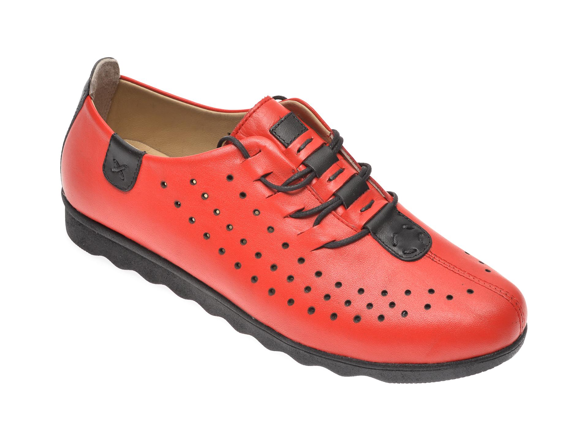 Pantofi PASS COLLECTION rosii, K92101, din piele naturala