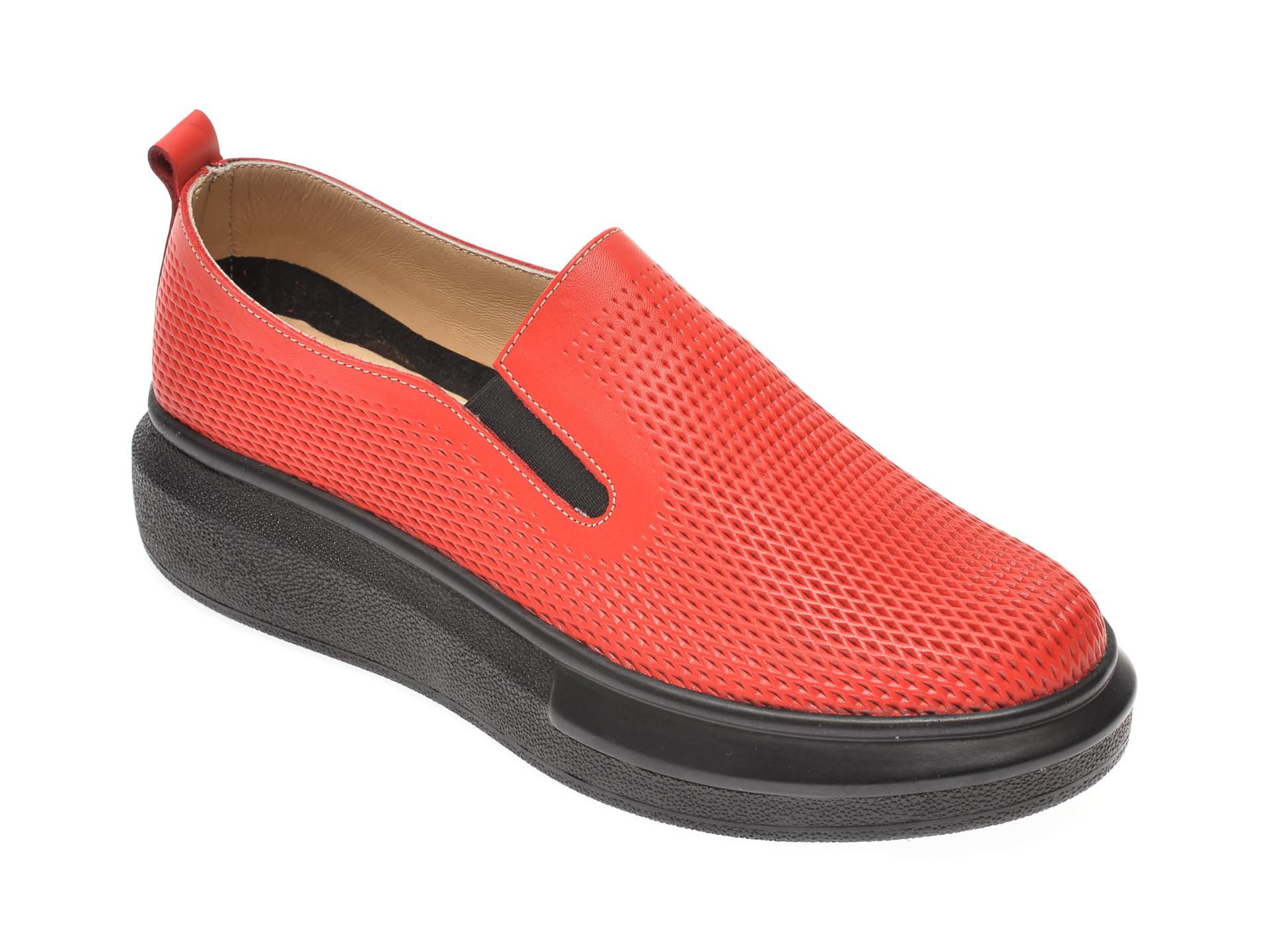 Pantofi PASS COLLECTION rosii, K92102, din piele naturala