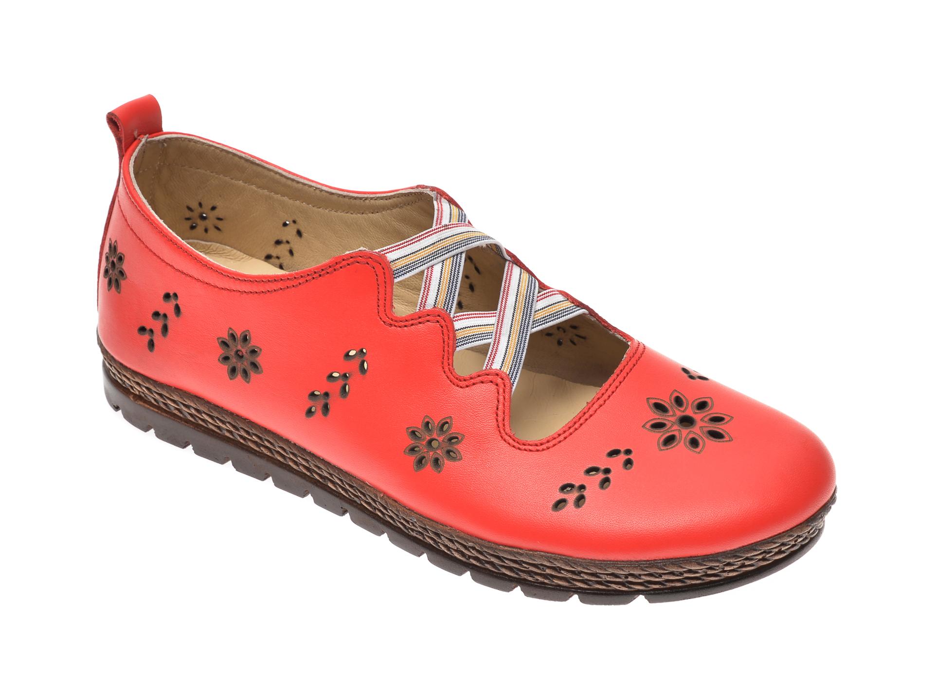 Pantofi PASS COLLECTION rosii, K921041, din piele naturala imagine