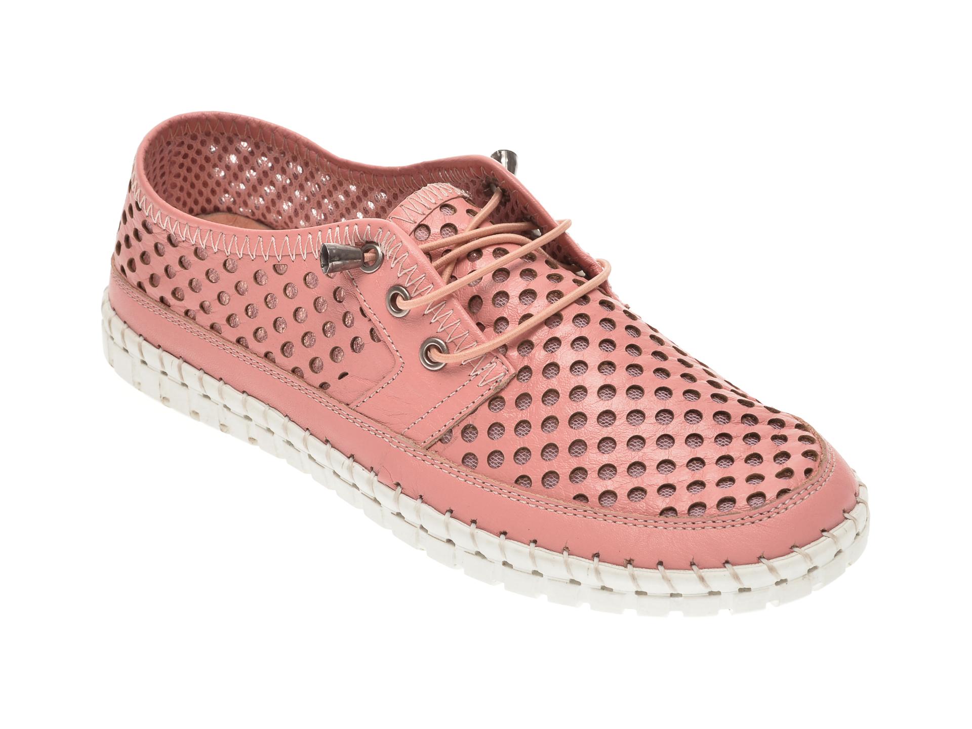 Pantofi PASS COLLECTION roz, 0590, din piele naturala