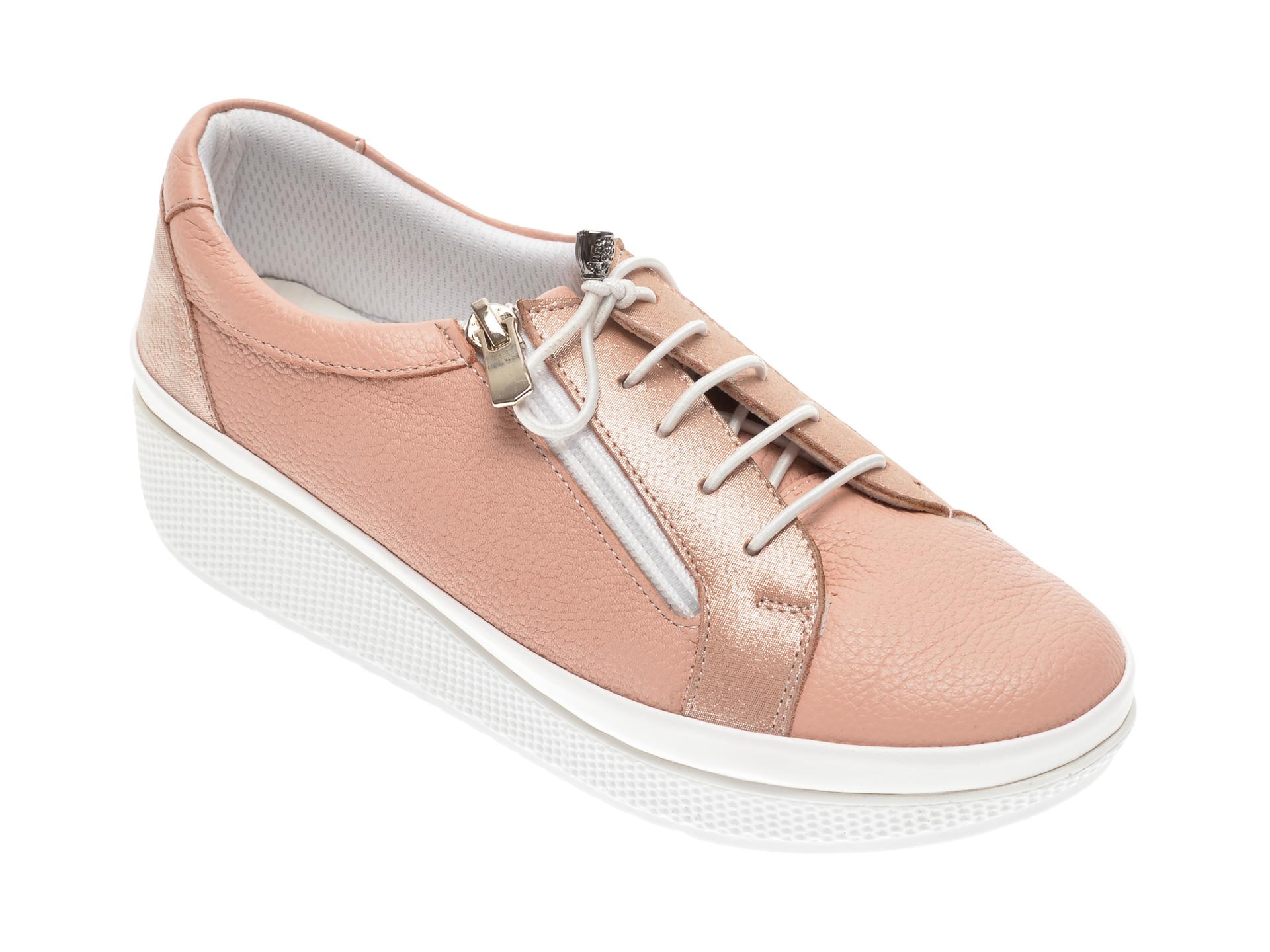 Pantofi PASS COLLECTION roz, H13, din piele naturala