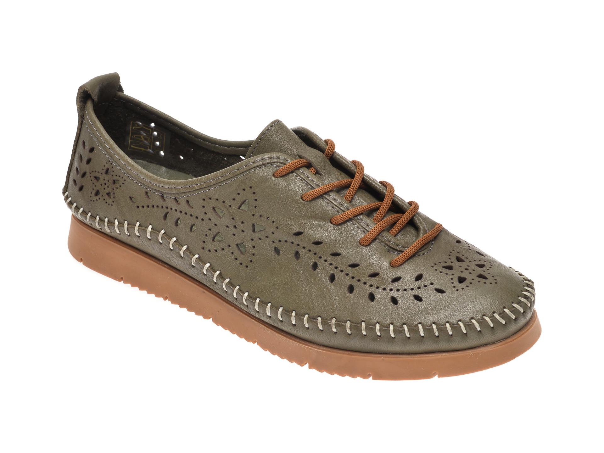 Pantofi PASS COLLECTION verzi, 1438, din piele naturala