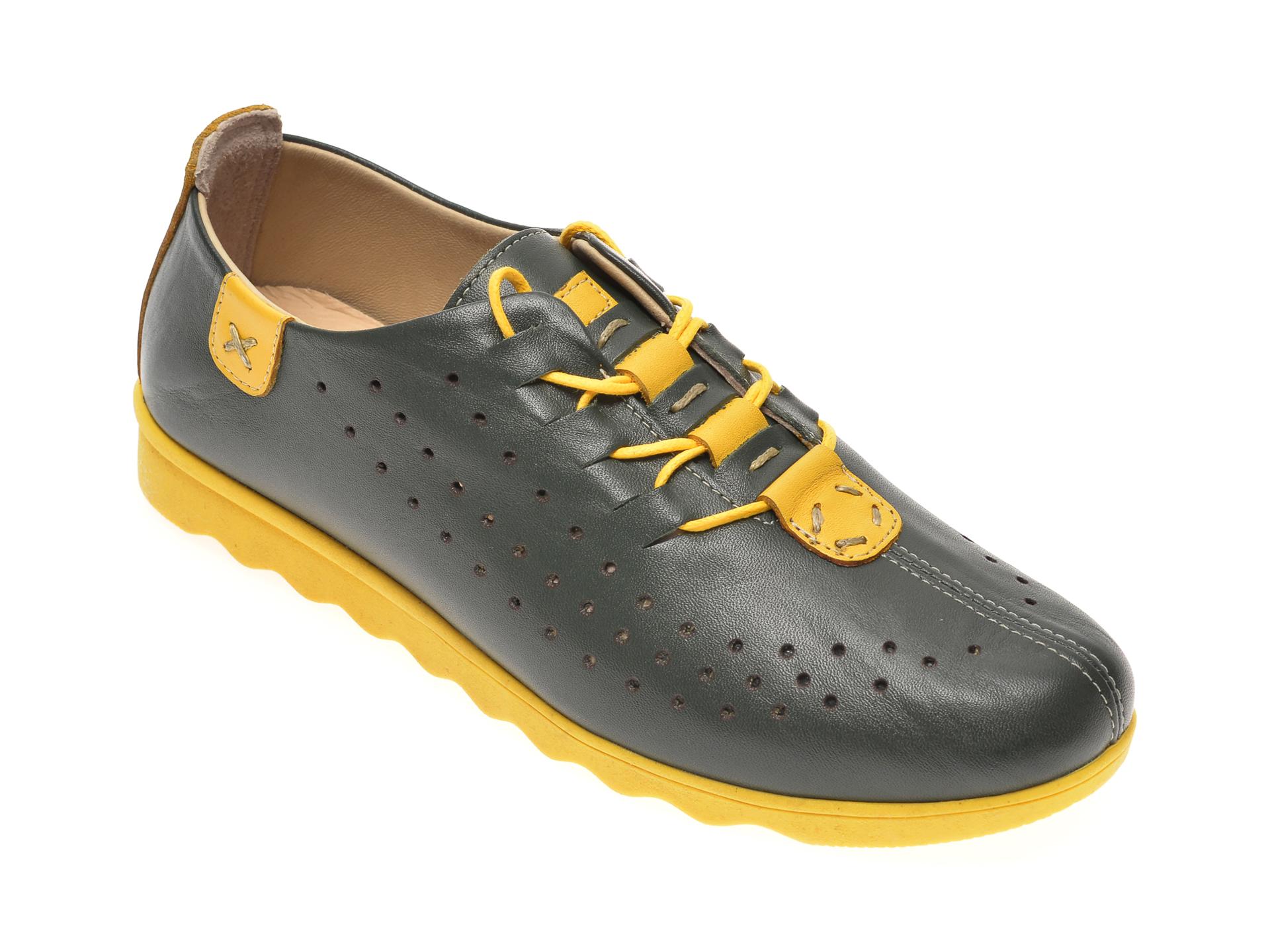 Pantofi PASS COLLECTION verzi, K92101, din piele naturala