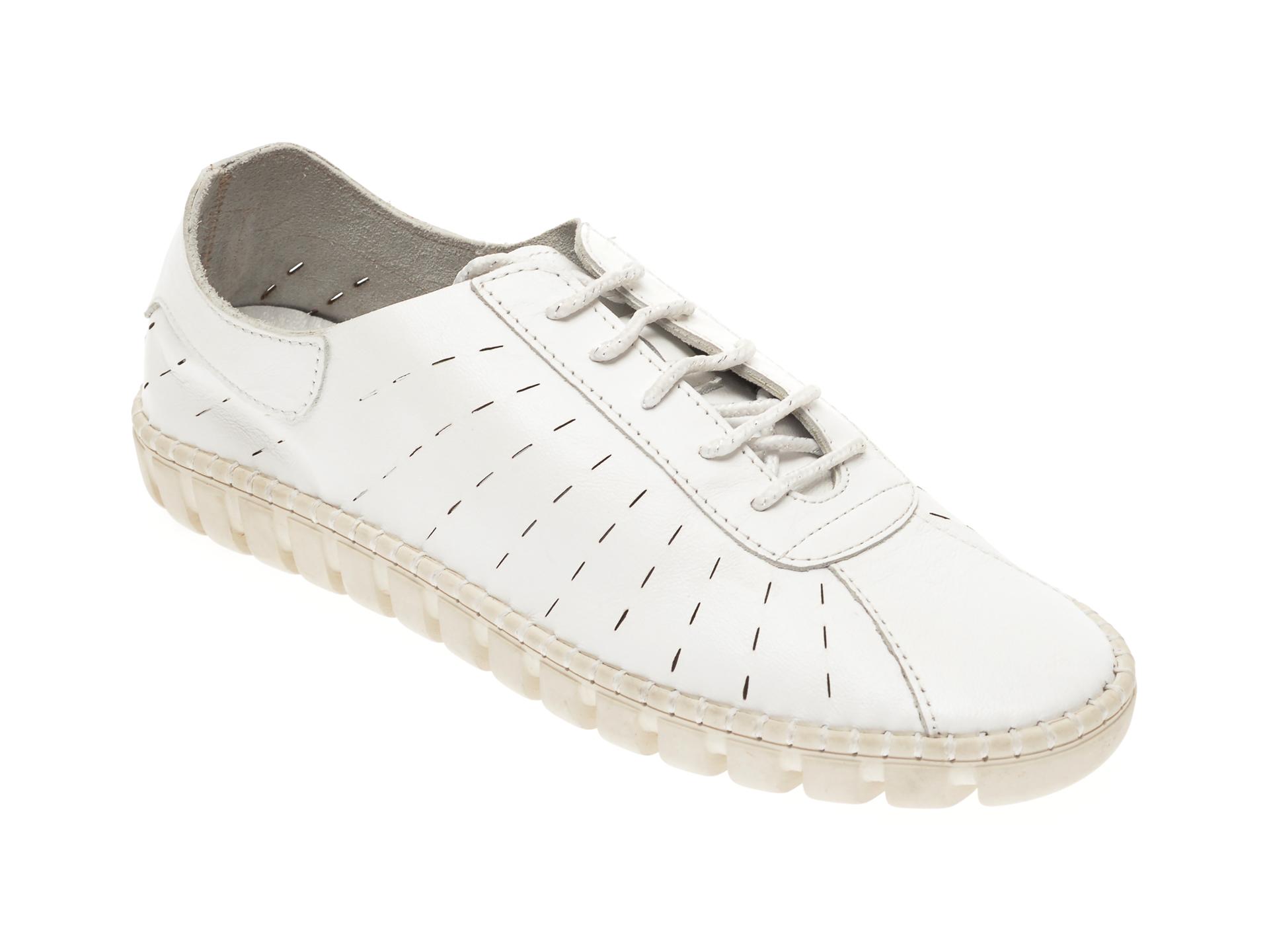 Pantofi PAVARELLA albi, 6020, din piele naturala