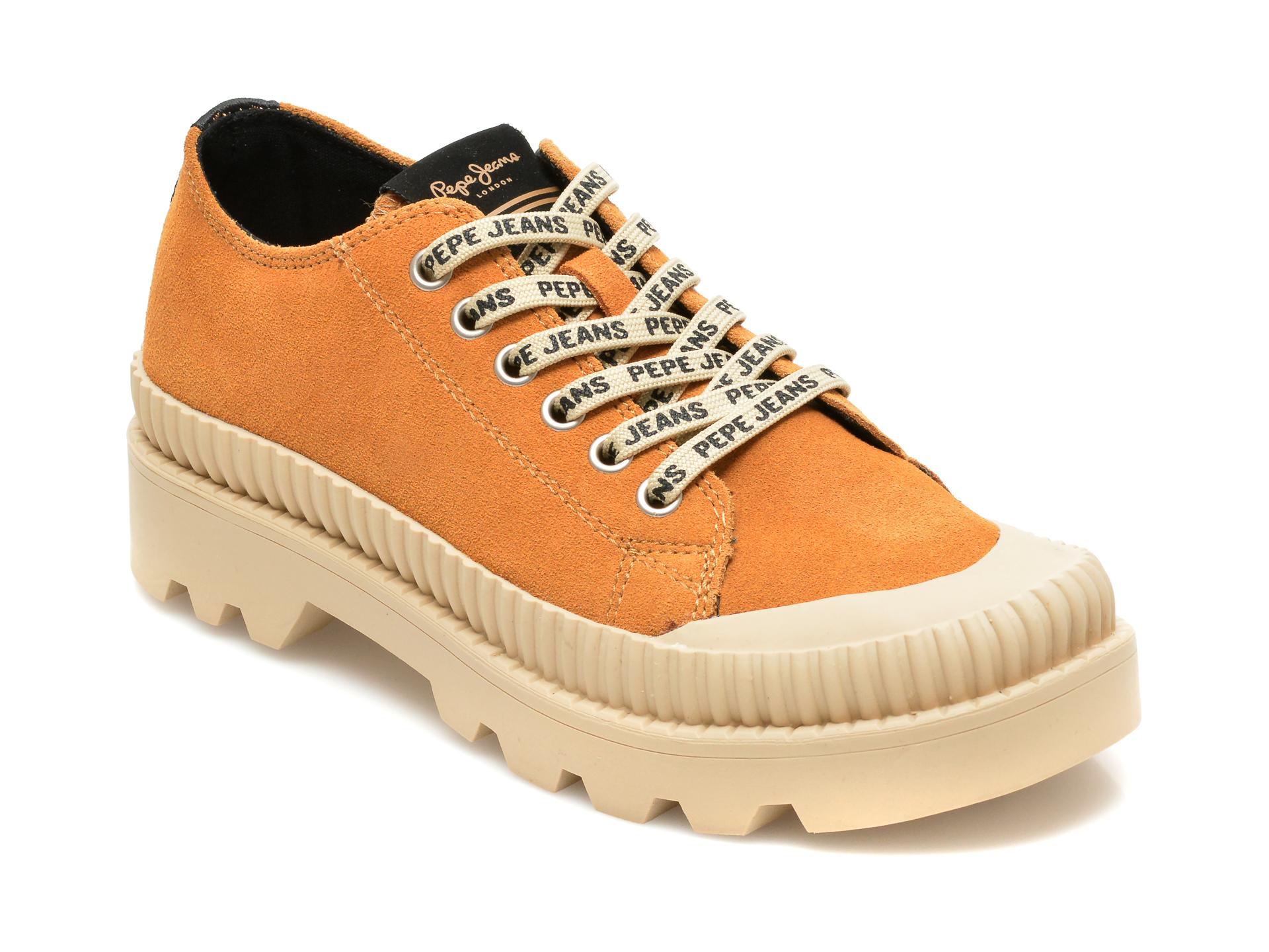 Pantofi PEPE JEANS maro, LS10401, din piele intoarsa