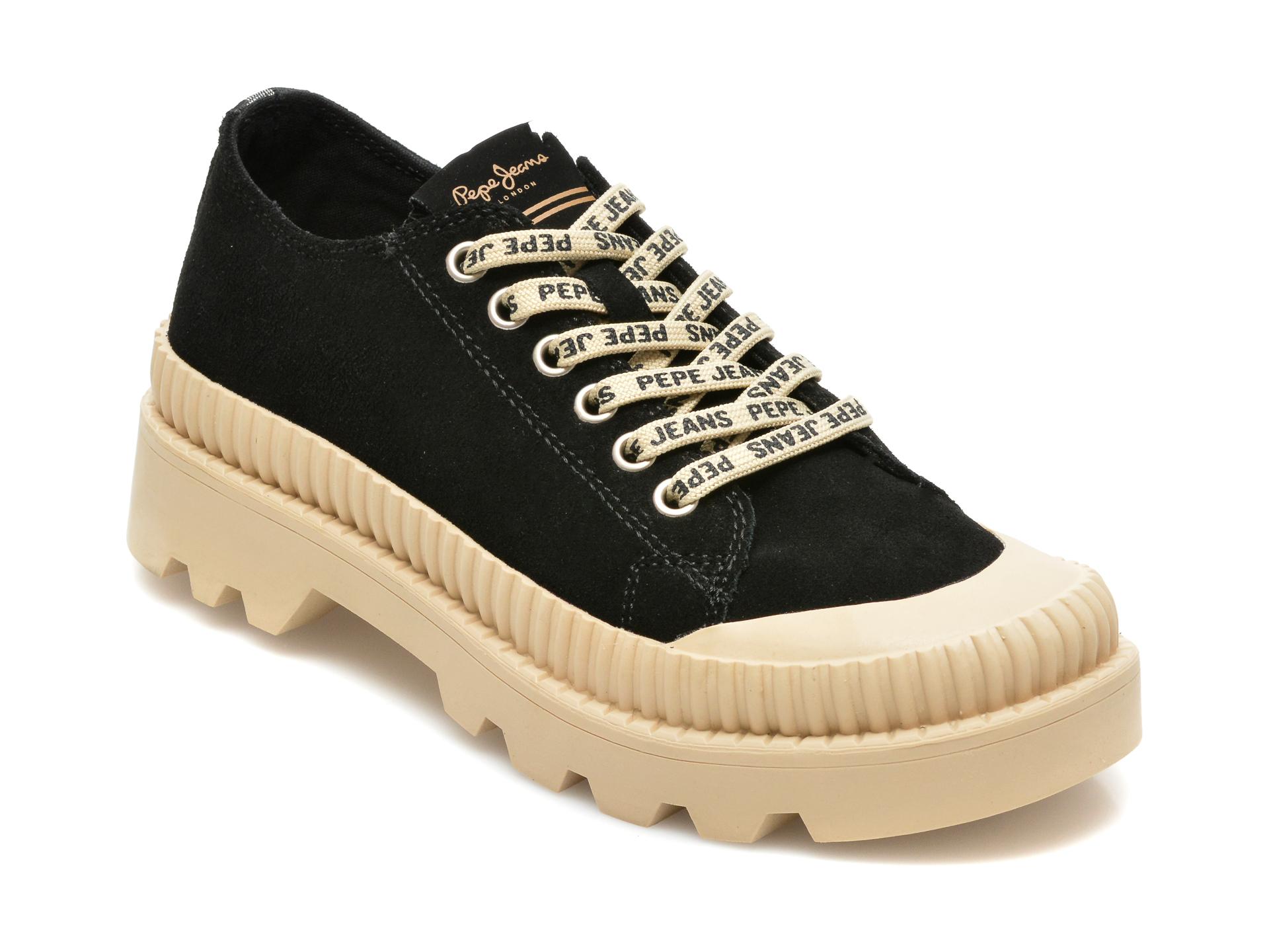 Pantofi PEPE JEANS negri, LS10401, din piele intoarsa