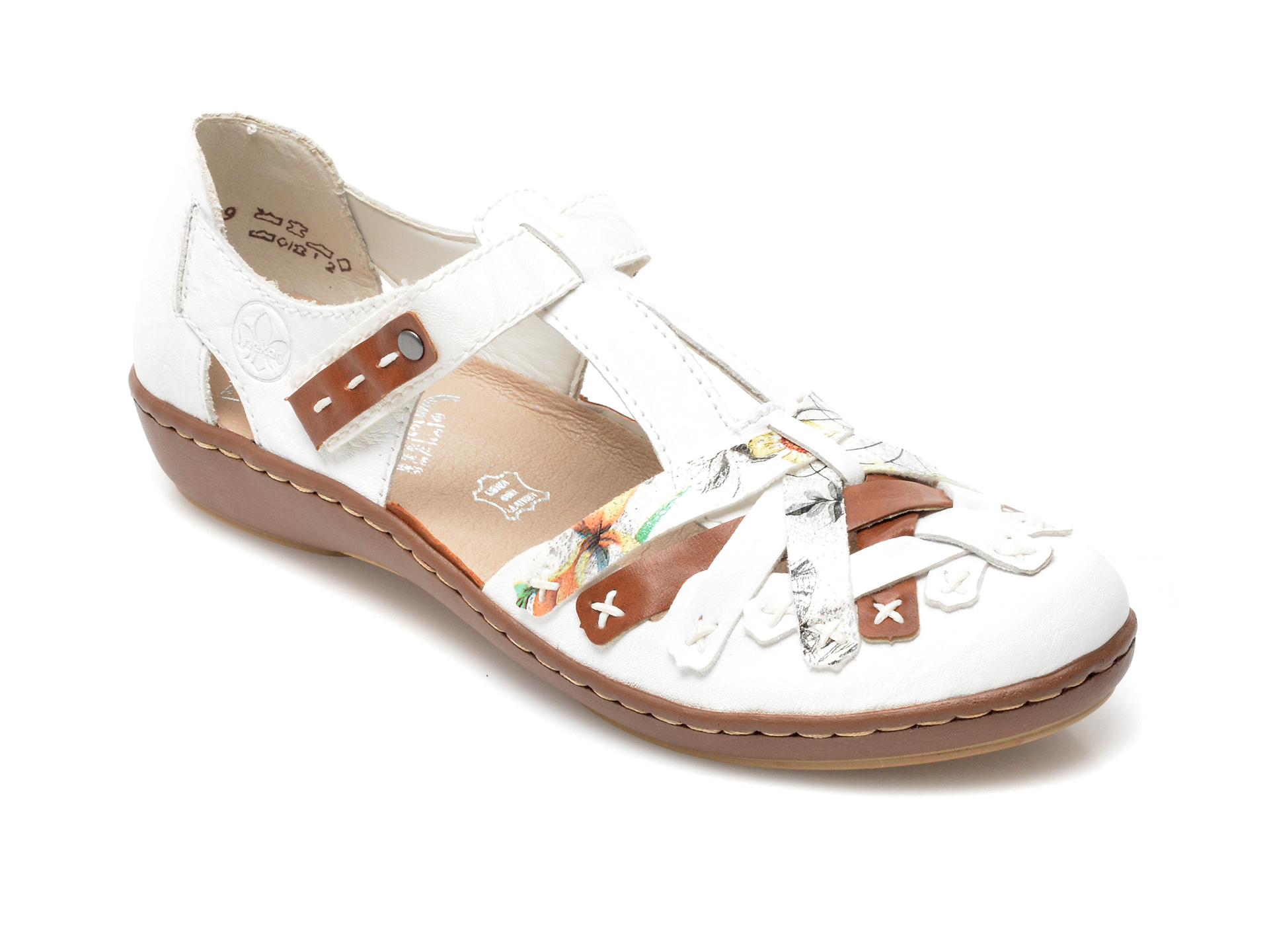 Pantofi RIEKER albi, 45886, din piele naturala imagine otter.ro 2021