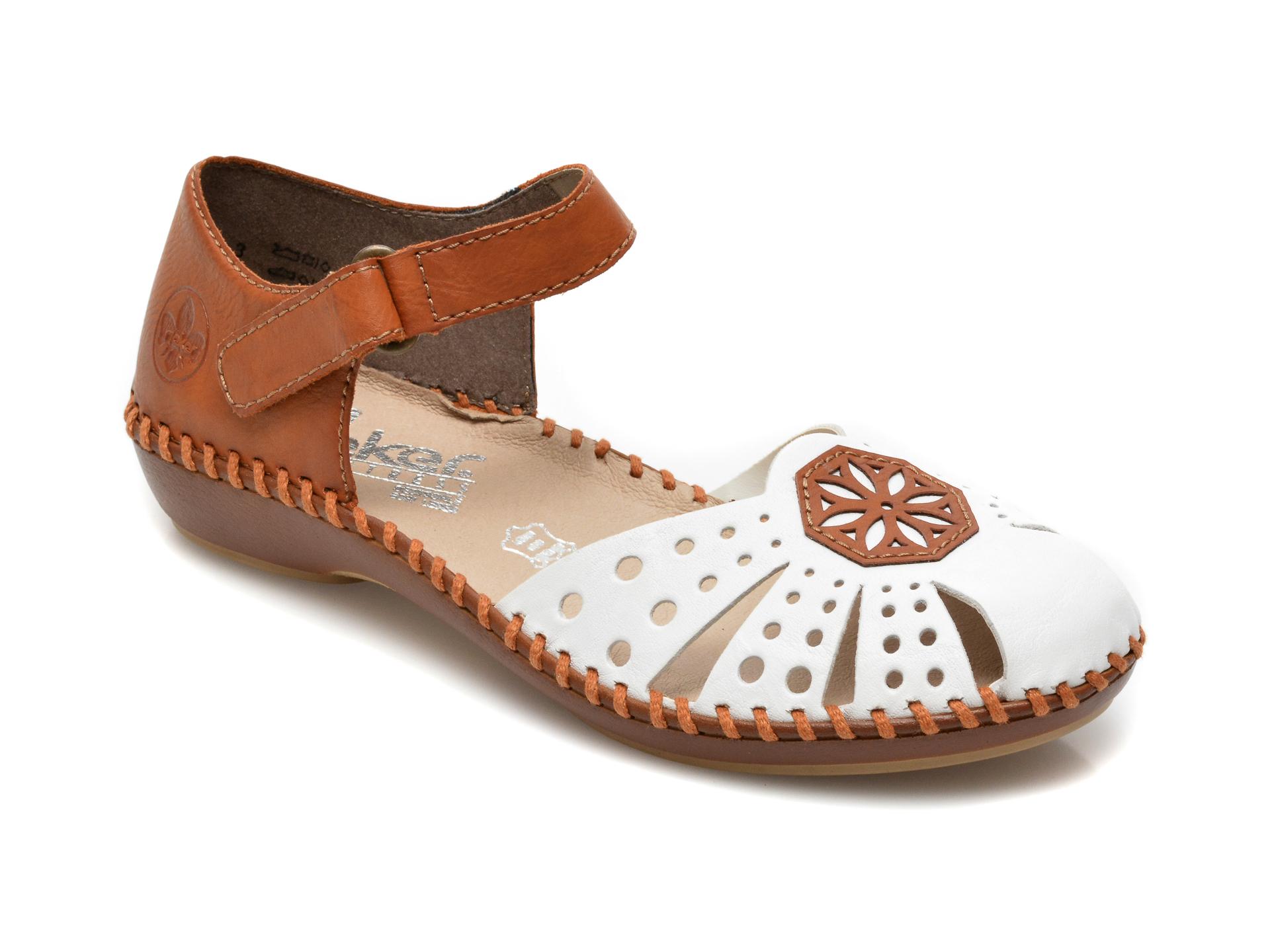 Pantofi RIEKER albi, M1666, din piele naturala imagine otter.ro 2021