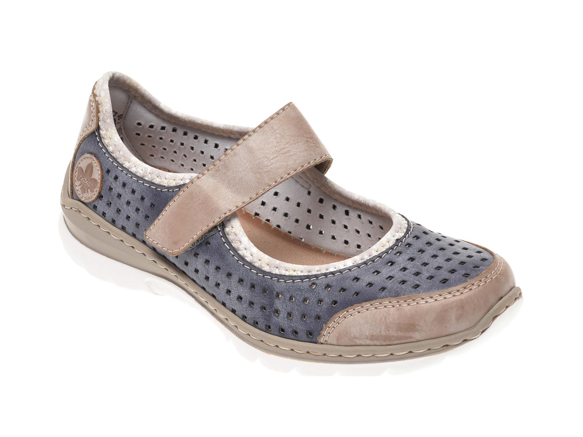 Pantofi RIEKER bleumarin, L32B5, din piele ecologica