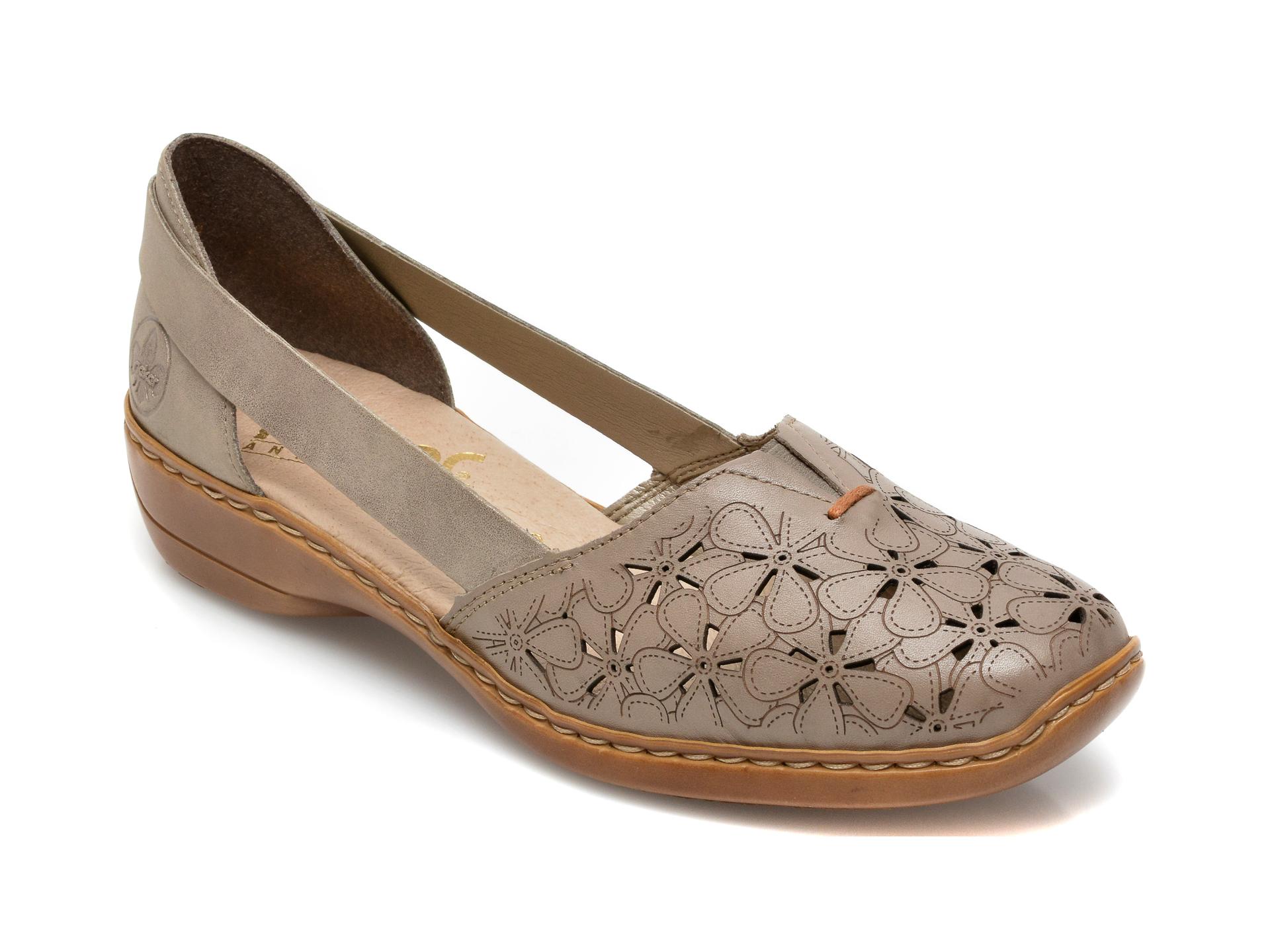 Pantofi RIEKER gri, 41356, din piele naturala imagine otter.ro 2021