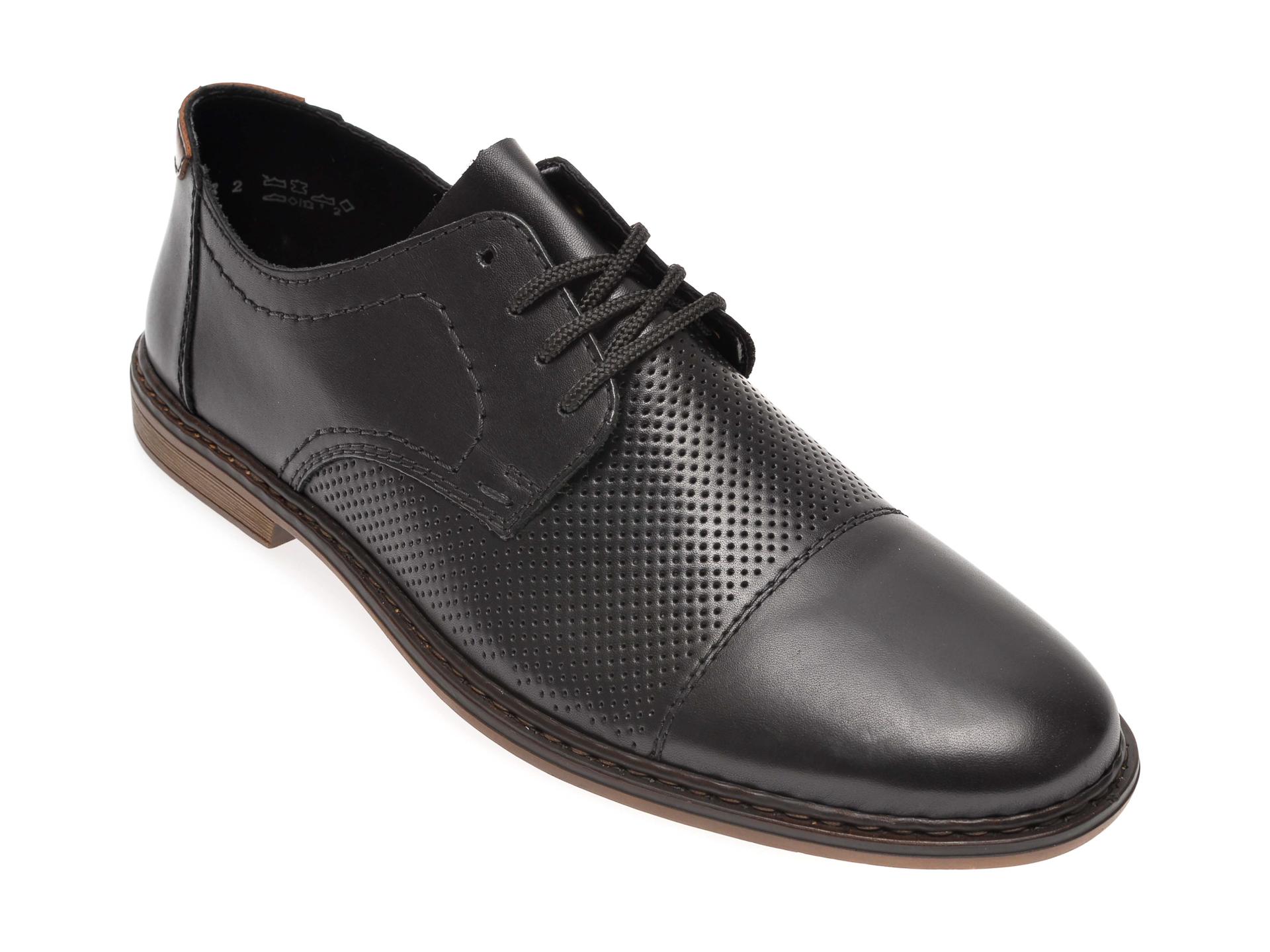 Pantofi RIEKER negri, 13427, din piele naturala imagine