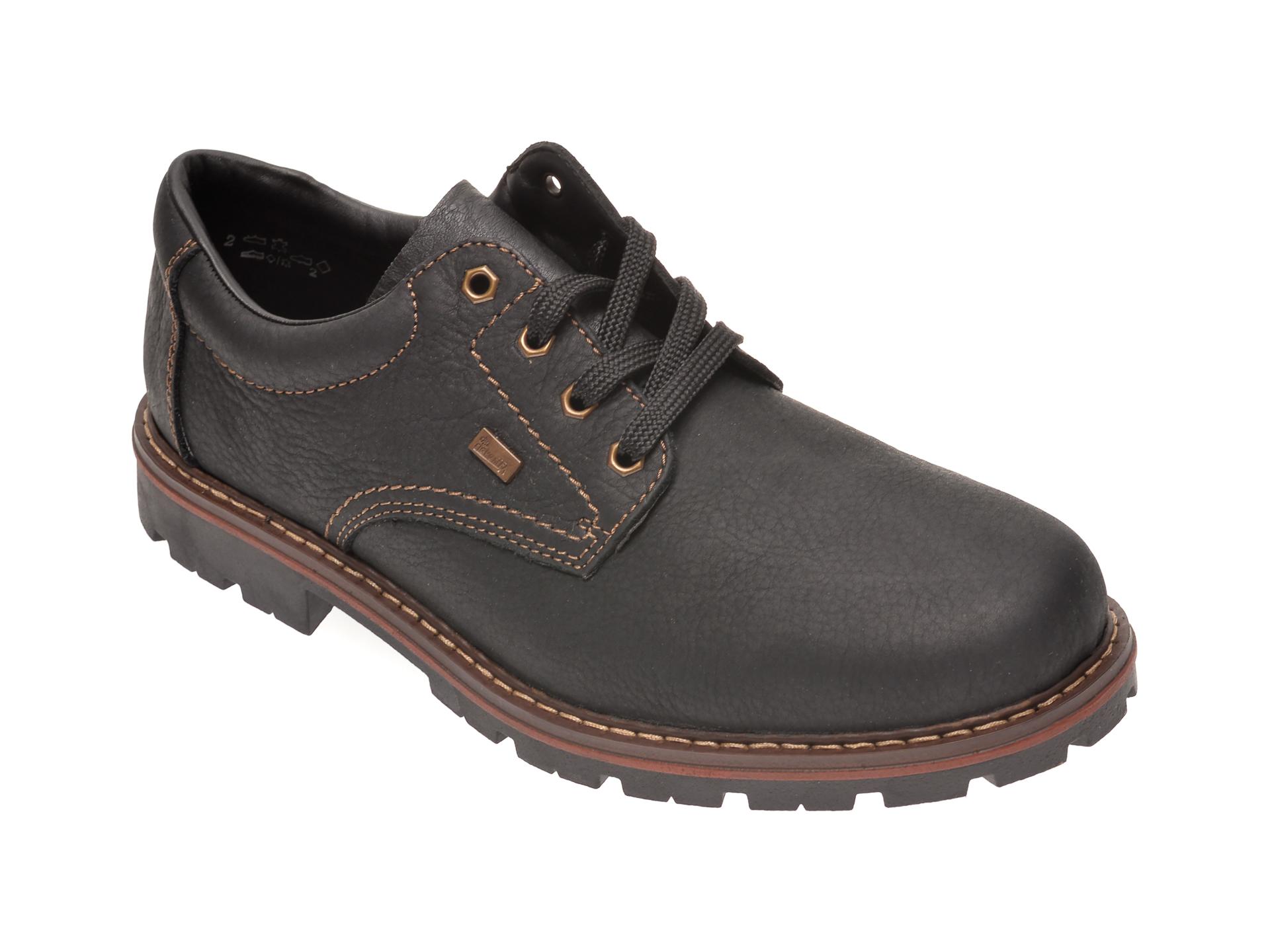 Pantofi RIEKER negri, 17710, din piele naturala imagine