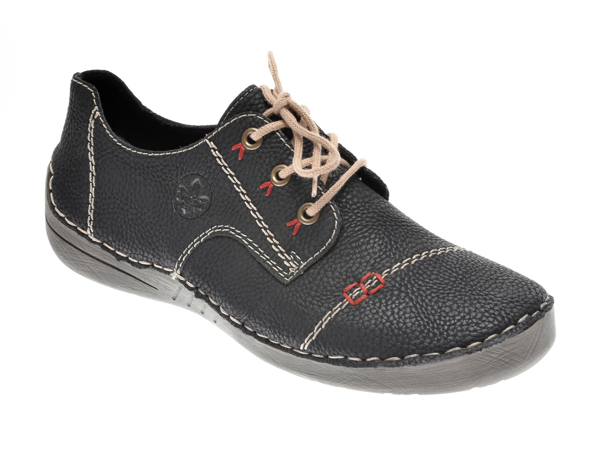 Pantofi RIEKER negri, 52520, din piele ecologica