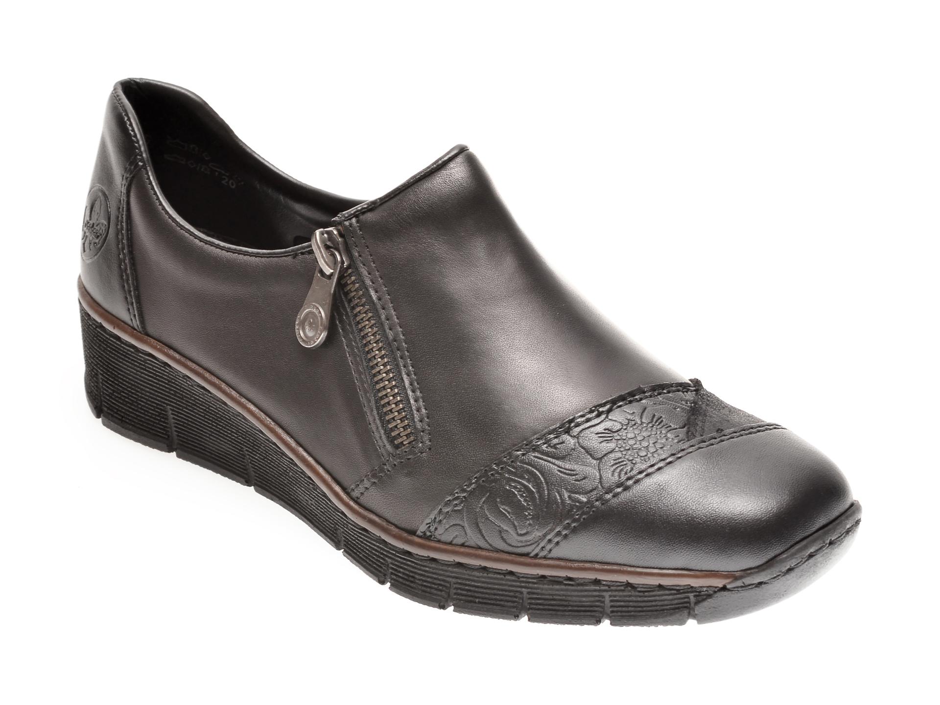 Pantofi RIEKER negri, 53761, din piele ecologica