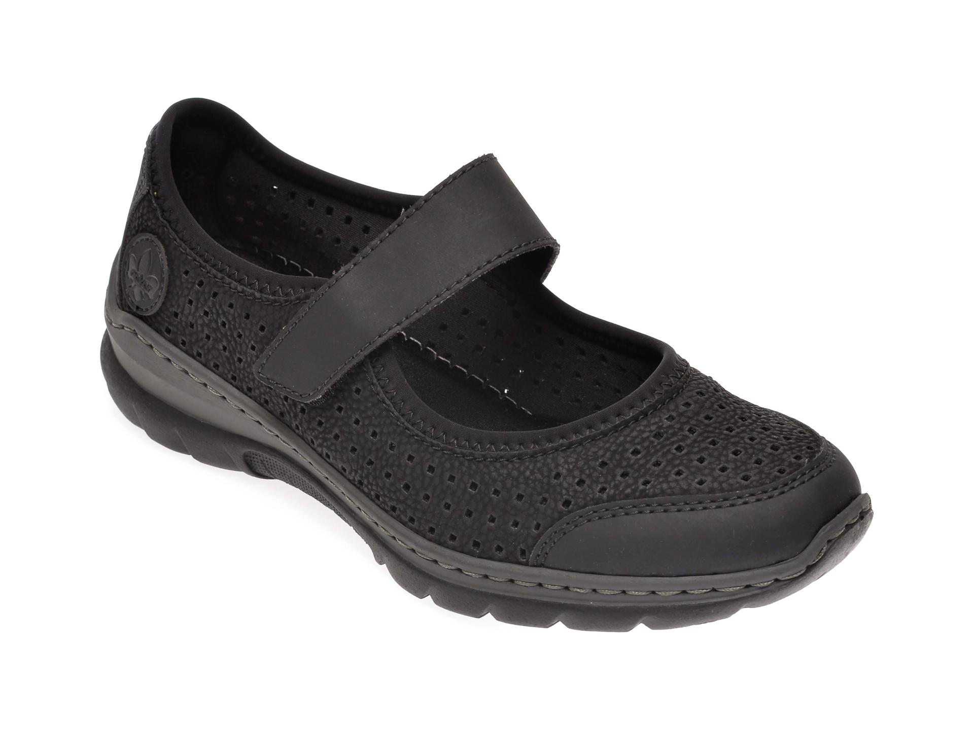 Pantofi RIEKER negri, L32B5, din piele ecologica