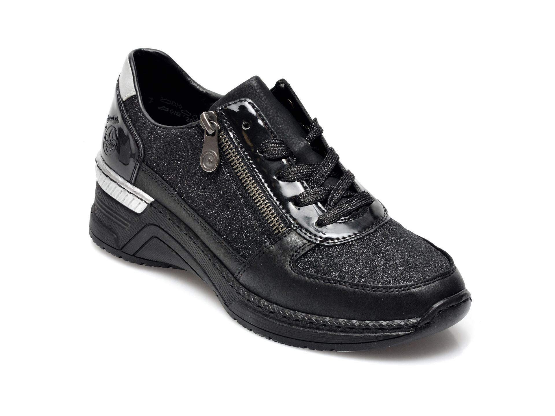 Pantofi RIEKER negri, N4313, din piele naturala imagine otter.ro 2021