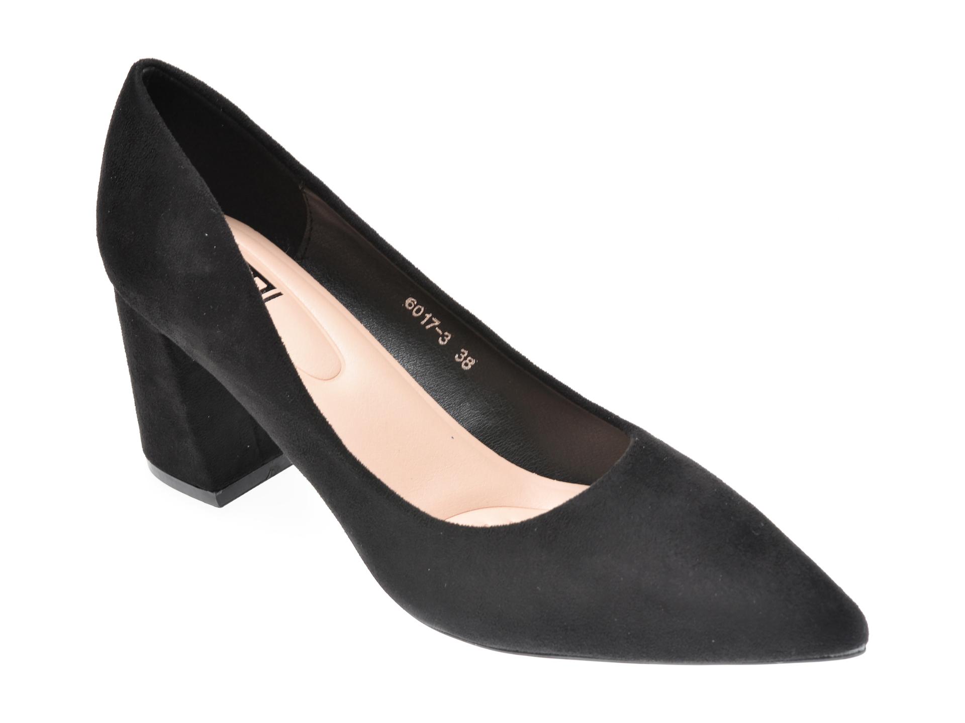Pantofi RIO FIORE negri, 6017, din piele ecologica imagine