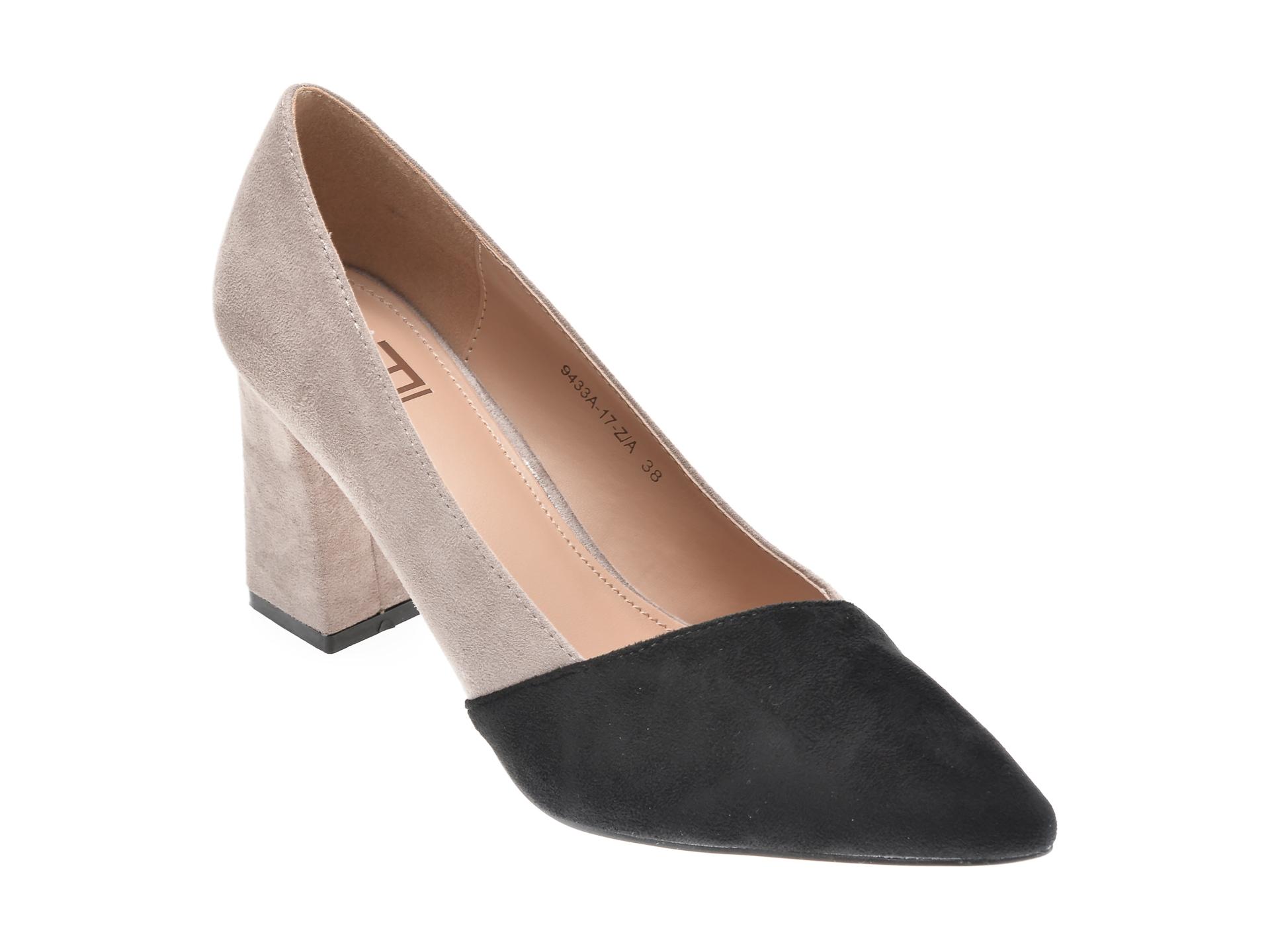 Pantofi RIO FIORE negri, 9433A, din piele ecologica imagine