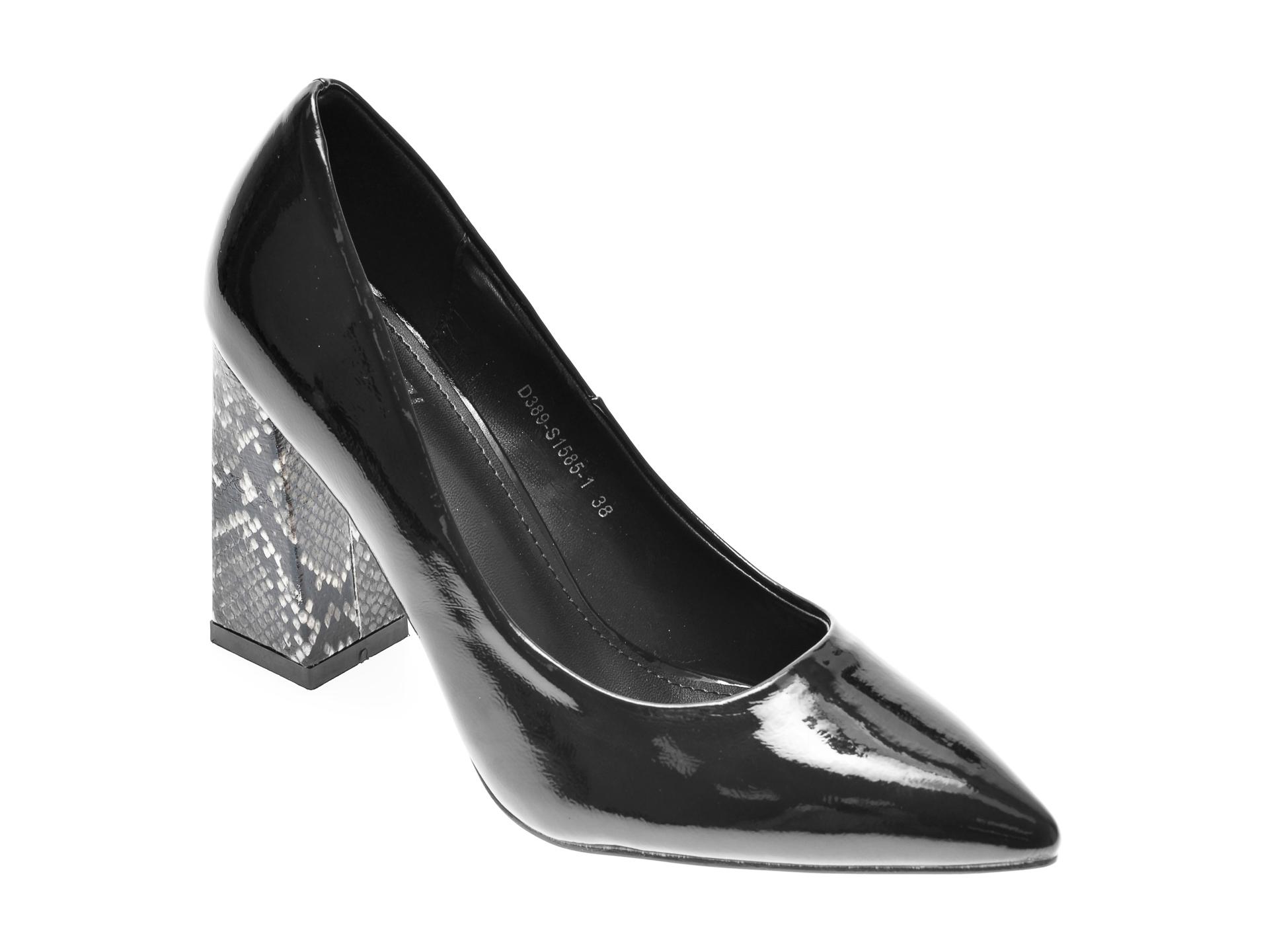 Pantofi RIO FIORE negri, S1585, din piele ecologica imagine