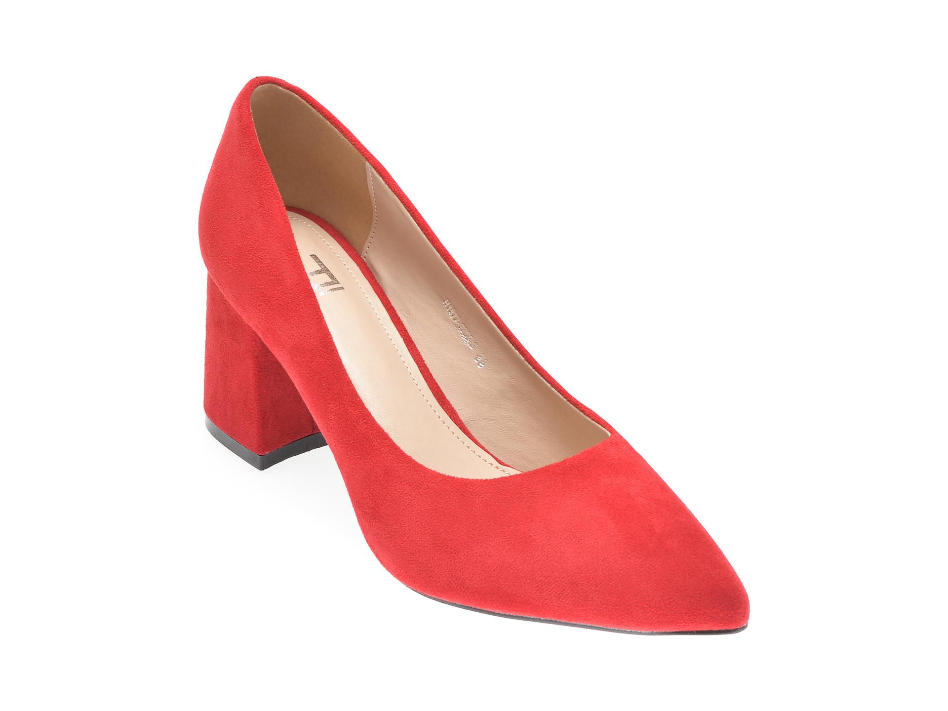 Pantofi RIO FIORE rosii, H1877, din piele ecologica imagine