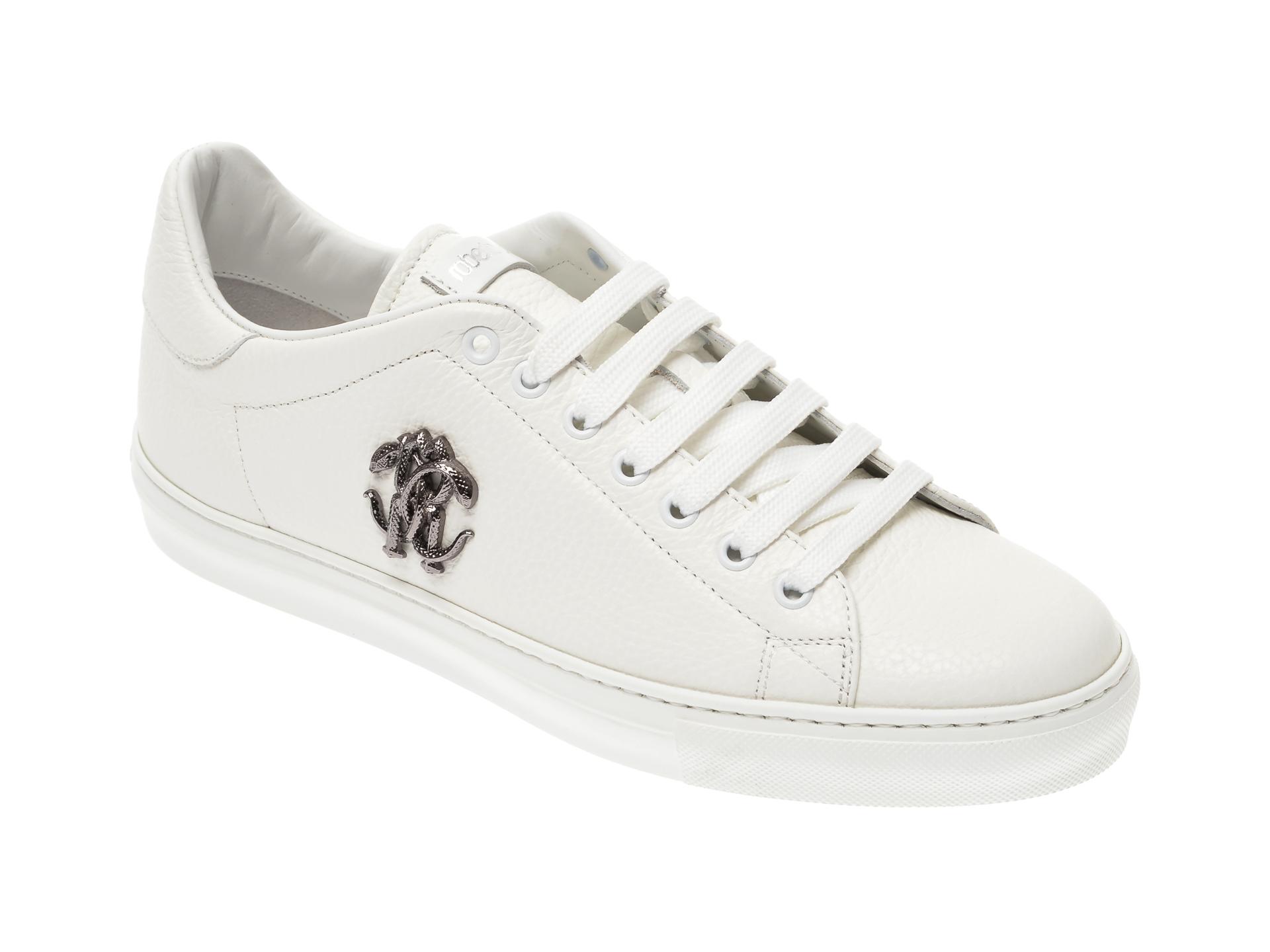 Pantofi ROBERTO CAVALLI albi, 1004, din piele naturala imagine