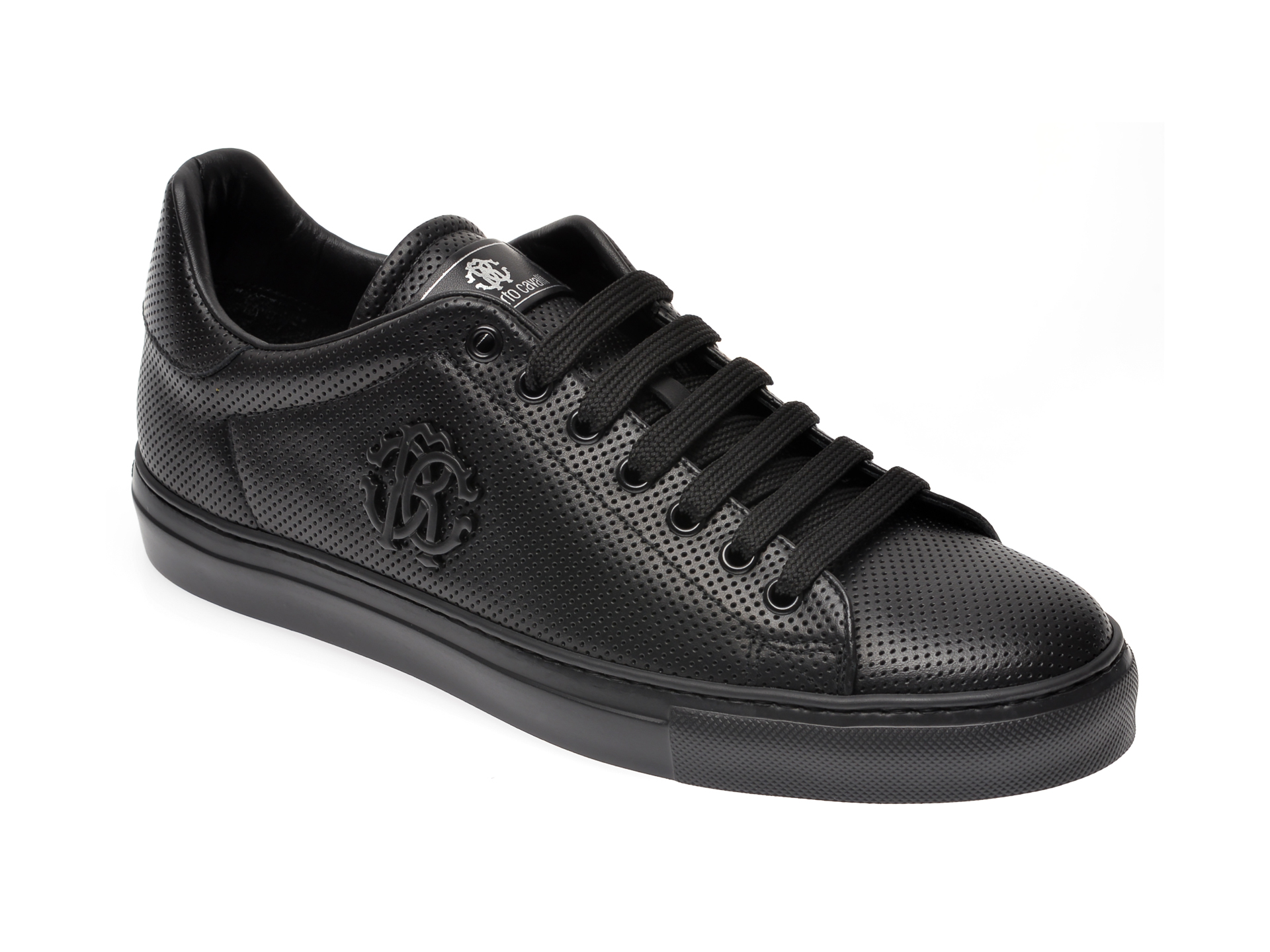 Pantofi ROBERTO CAVALLI negri, 1001, din piele naturala imagine