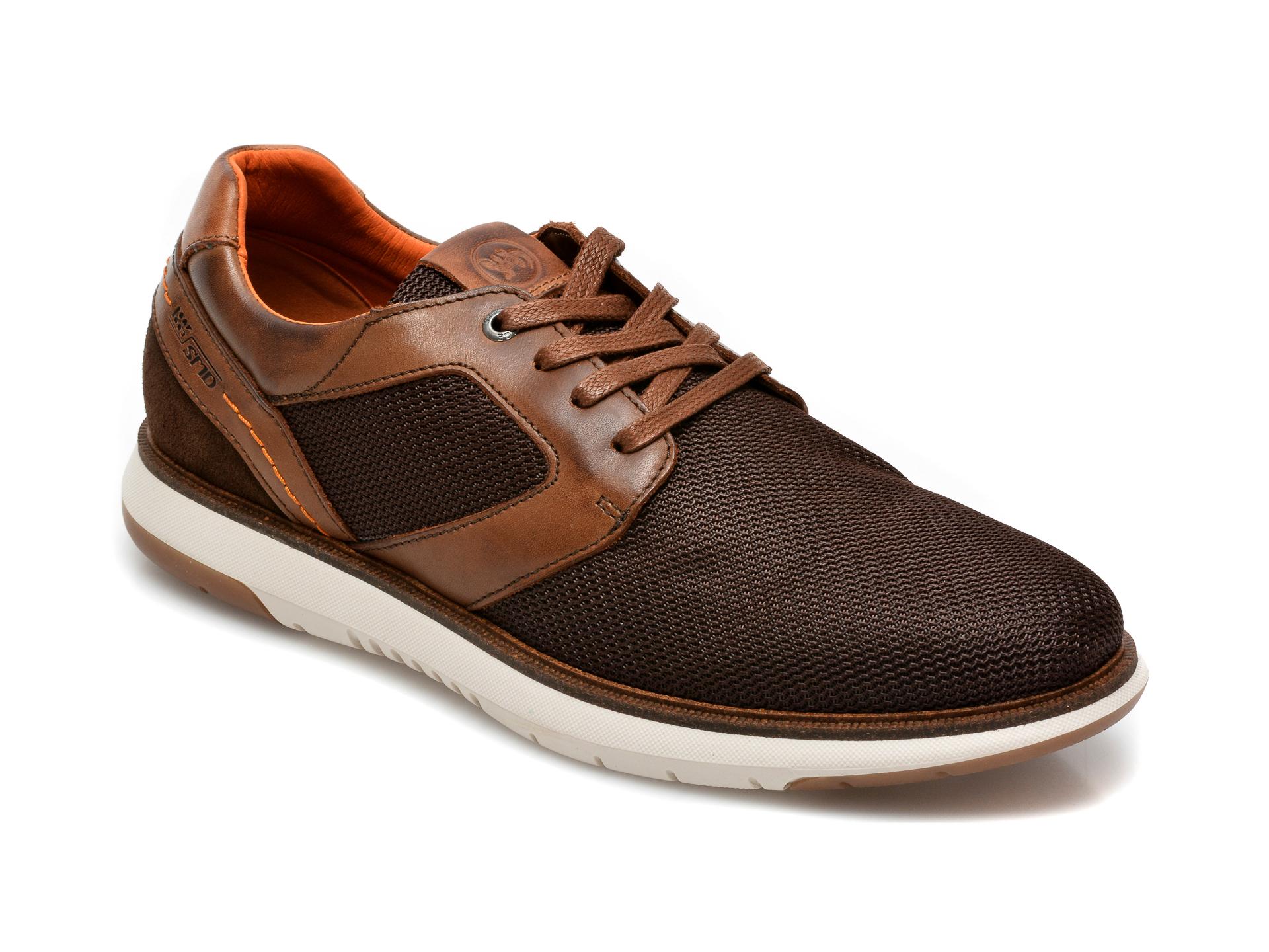Pantofi Salamander Maro, 60004, Din Material Textil Si Piele Naturala