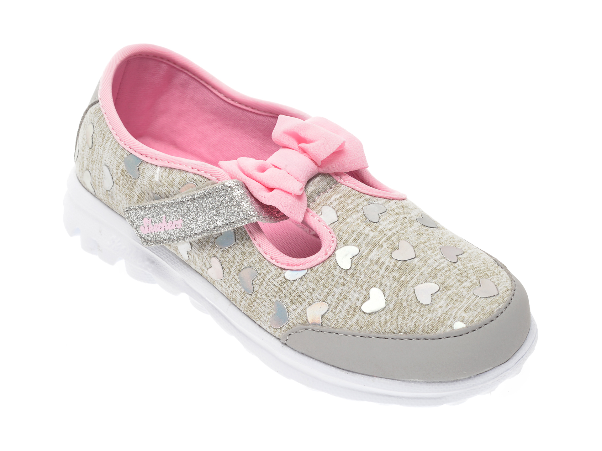 Pantofi SKECHERS gri, Go Walk Bitty Hearts, din material textil imagine otter.ro 2021